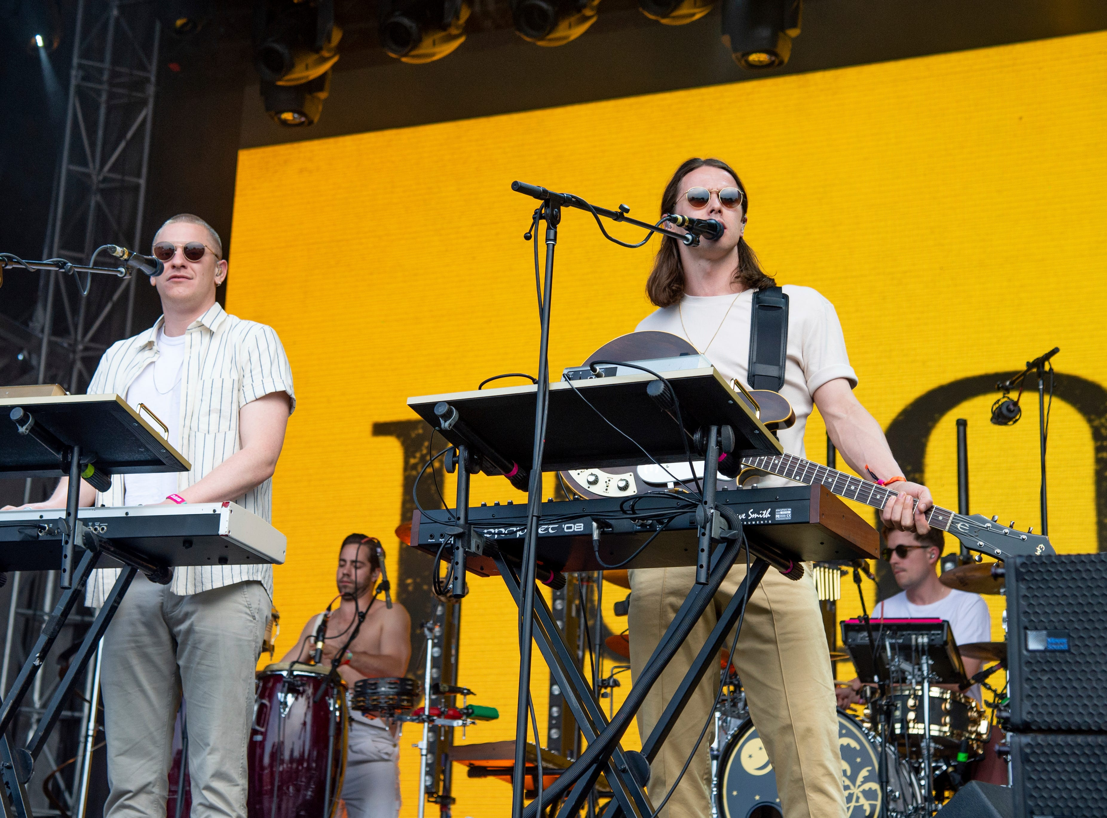 Joshua James Lloyd-Watson, left, and Tom McFarland of Jungle perform at the Bonnaroo Music and Arts Festival on Sunday, June 10, 2018, in Manchester, Tenn. (Photo by Amy Harris/Invision/AP)