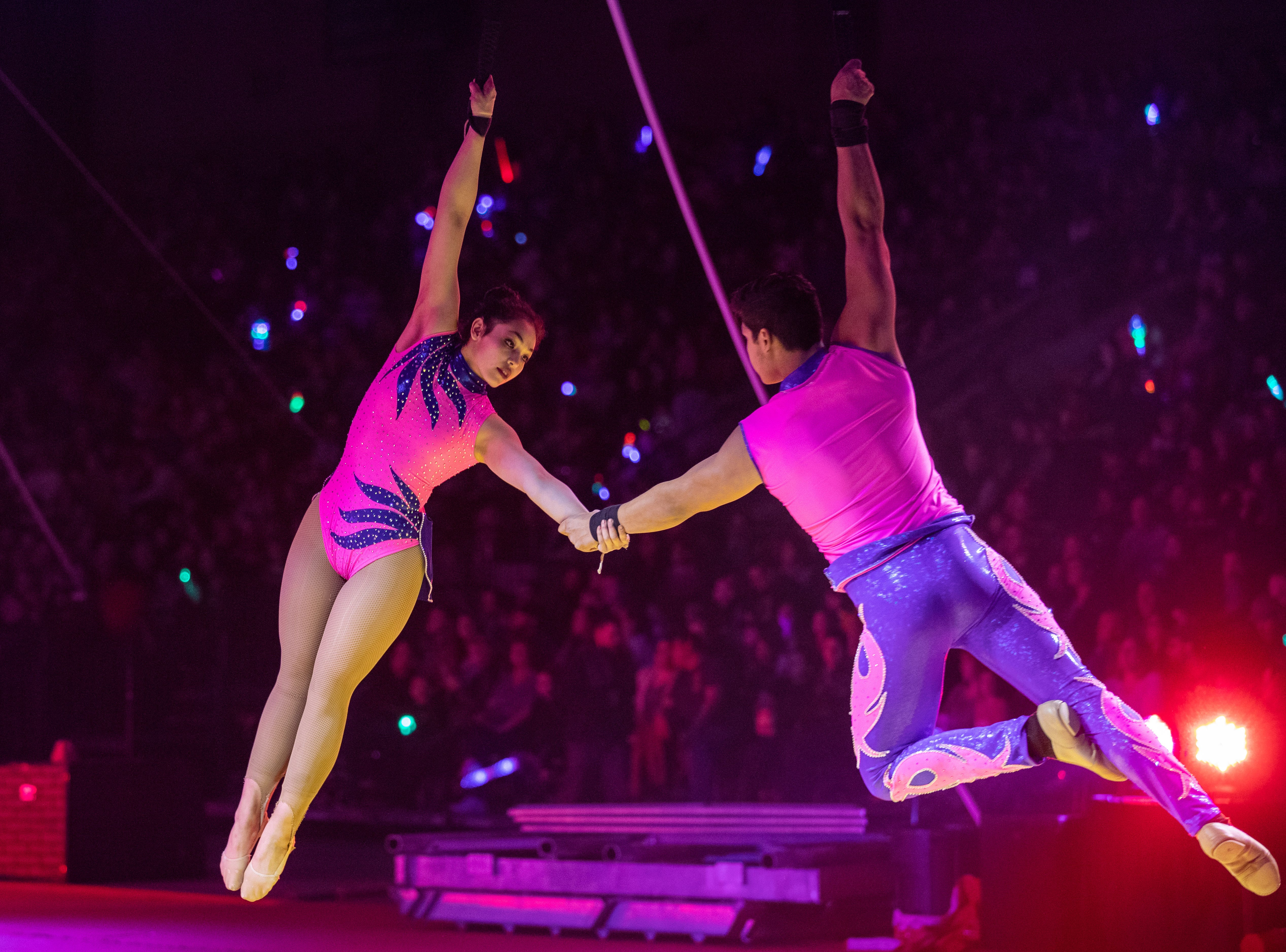 Aerial performers dance over the circus ring, Saturday, Feb. 9, 2019 in Louisville Ky.