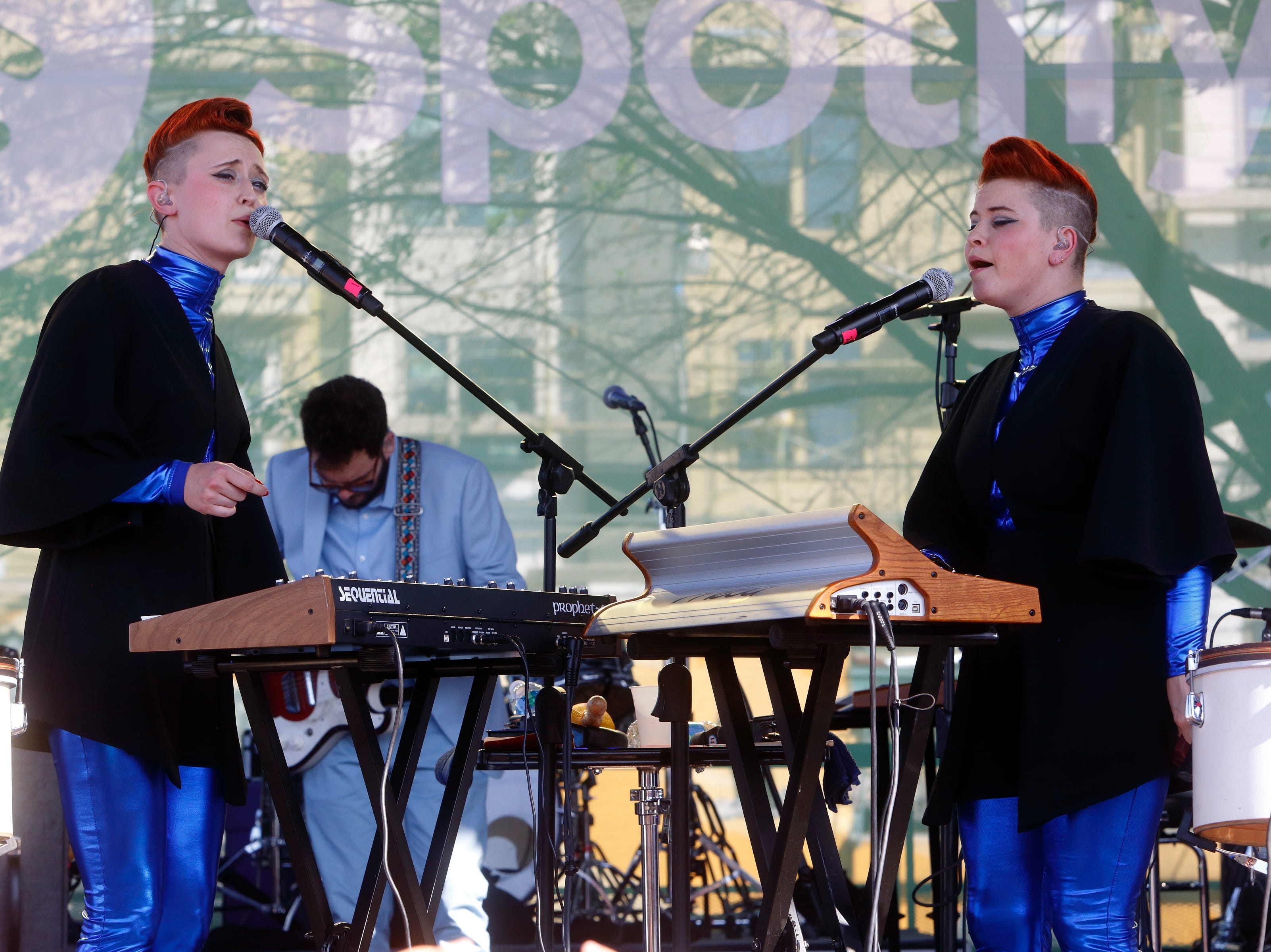 Jess Wolfe (left) and Holly Laessig of Lucius performs at the Spotify House at South by Southwest Music Festival on Monday, Mar. 14, 2016, in Austin, TX. (Photo by John Davisson/Invision/AP)