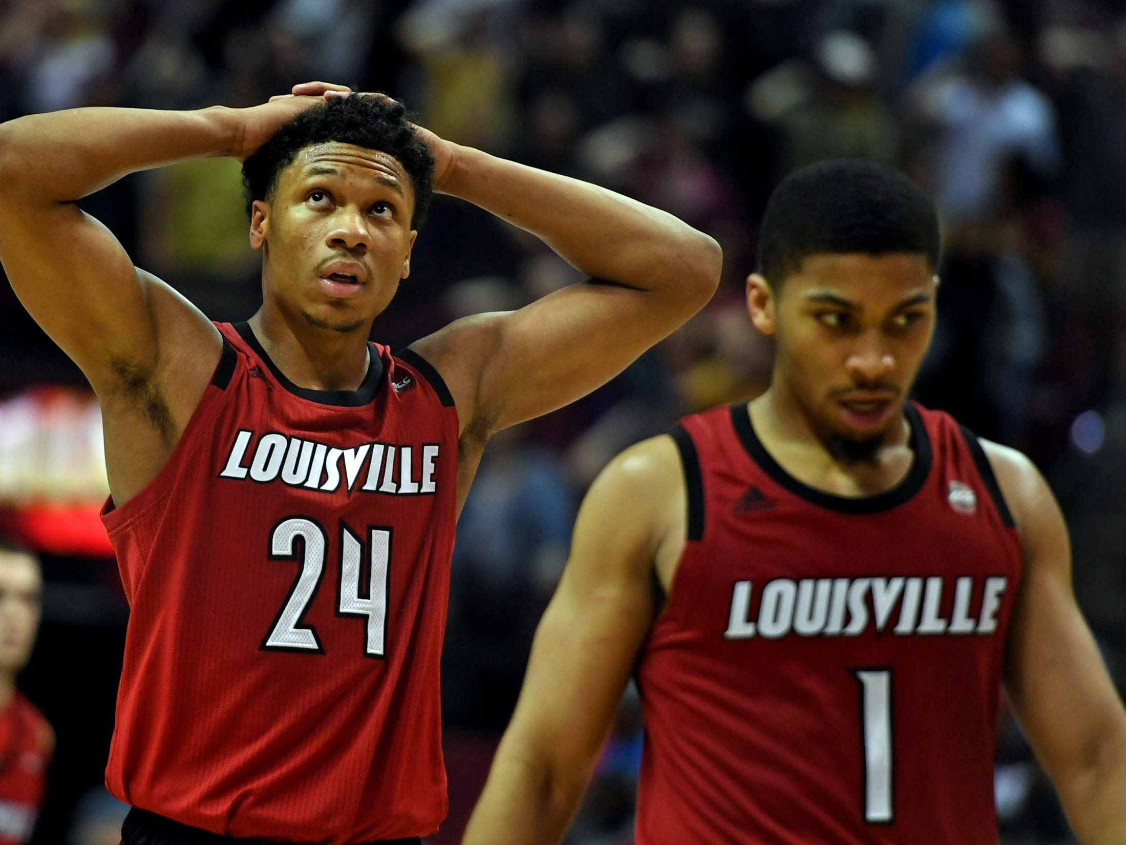 Louisville Cardinals forward Dwayne Sutton (24) reacts during overtime against the Florida State Seminoles at Donald L. Tucker Center in Tallahassee, Florida, on Saturday, Feb. 9, 2019.