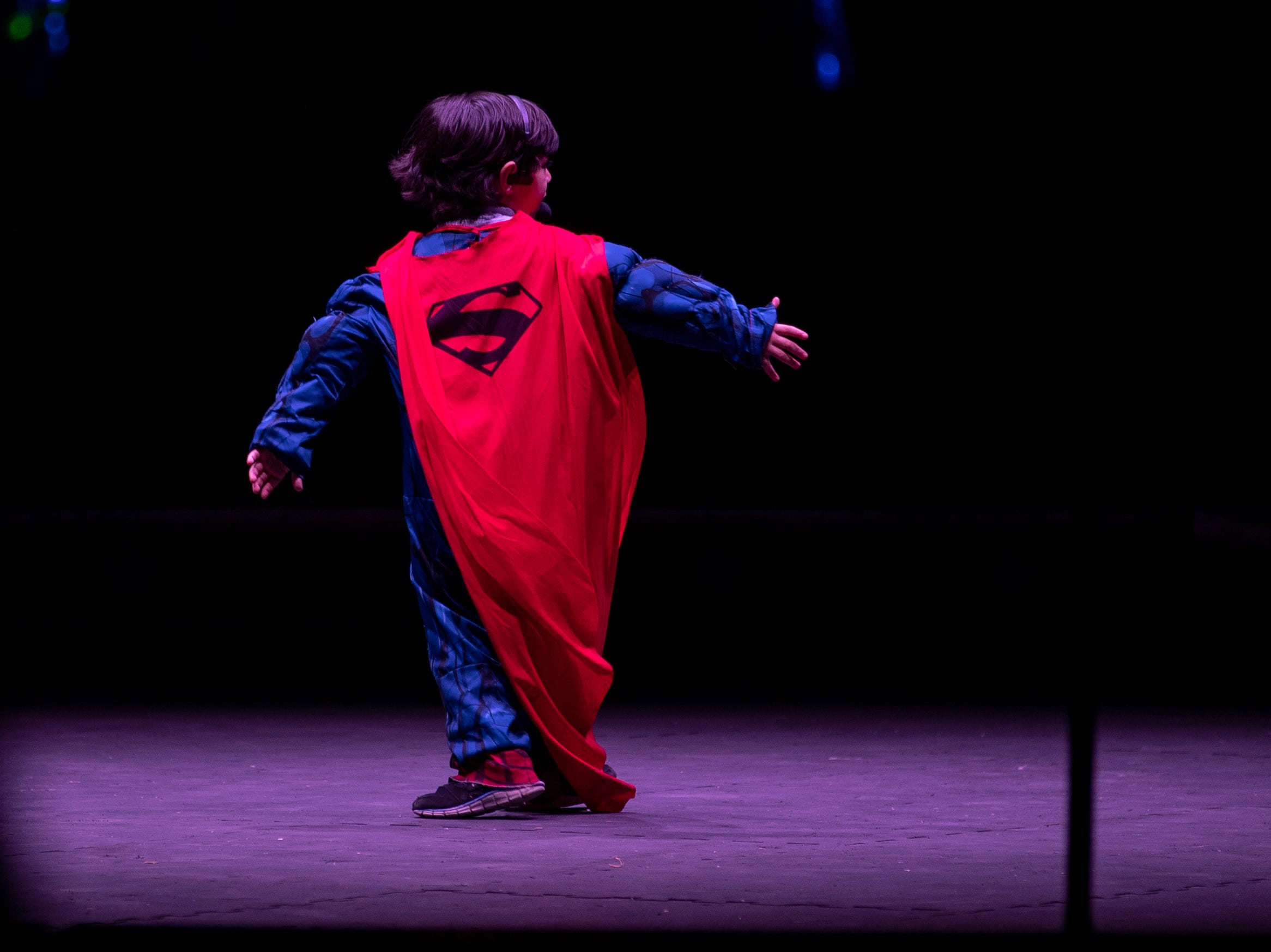 A young Superman performs during the Kosair Shrine Circus, Saturday, Feb. 9, 2019 in Louisville Ky.