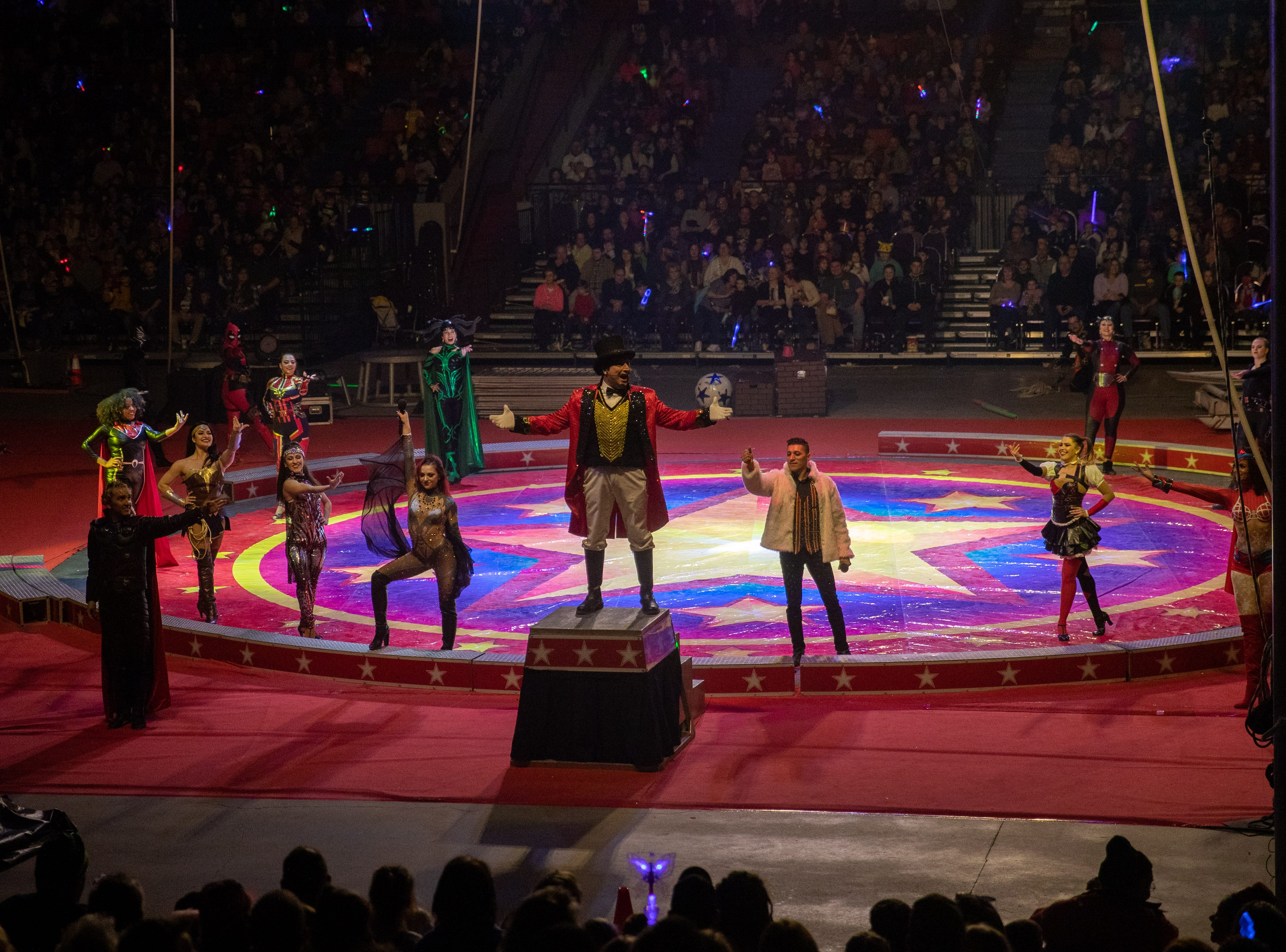 Opening the show, the ringmaster arises to the pedestal, Saturday, Feb. 9, 2019 in Louisville Ky.
