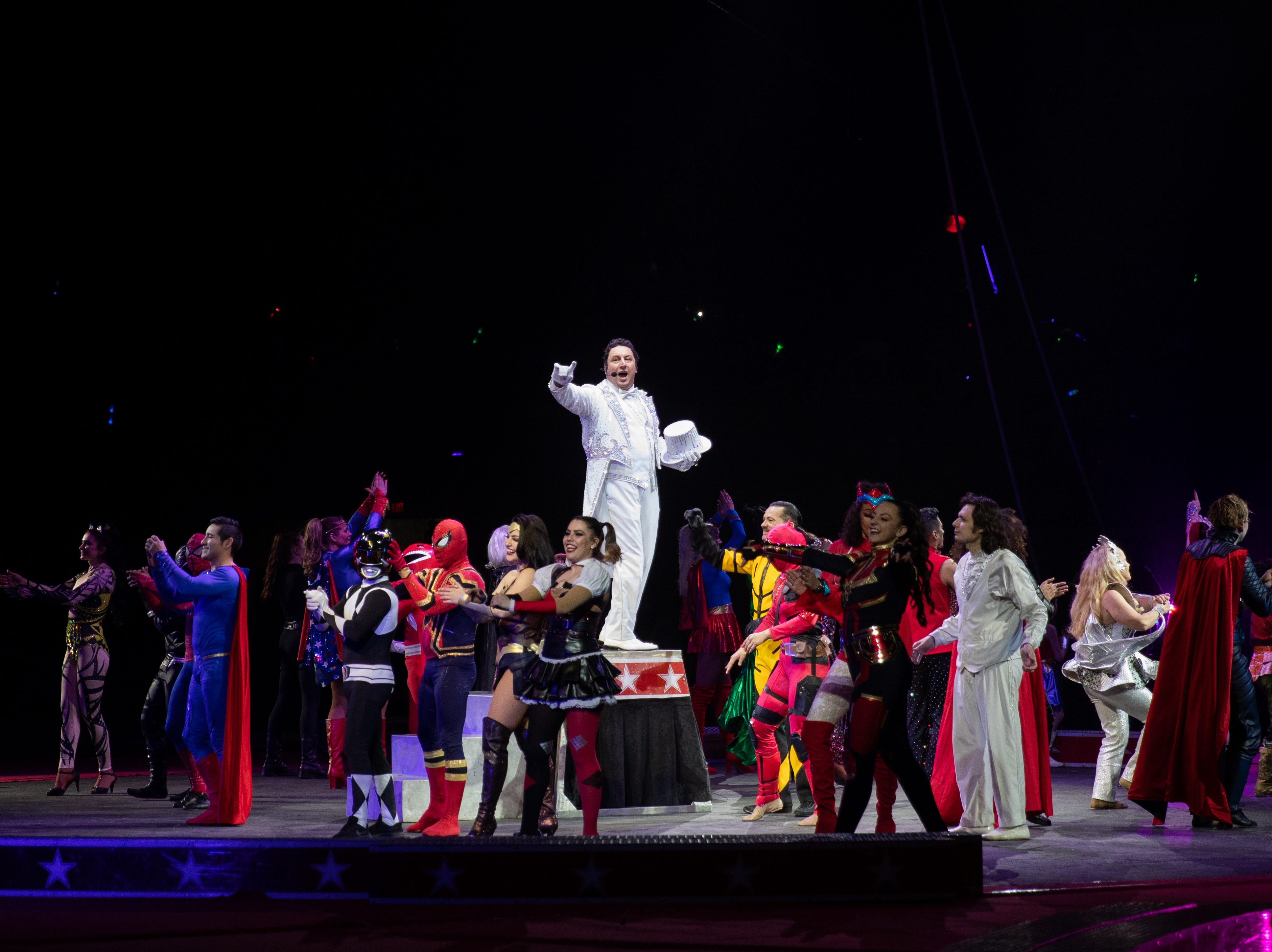 Ringmaster and performers come out to thank the crowd at the Kosair Shrine Circus, Saturday, Feb. 9, 2019 in Louisville Ky.