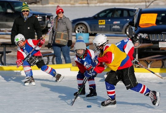 The Manitowoc Breakers youth hockey team scrimmage during Winter Fest Saturday, February 9, 2019, in Manitowoc, Wis. Joshua Clark/USA TODAY NETWORK-Wisconsin