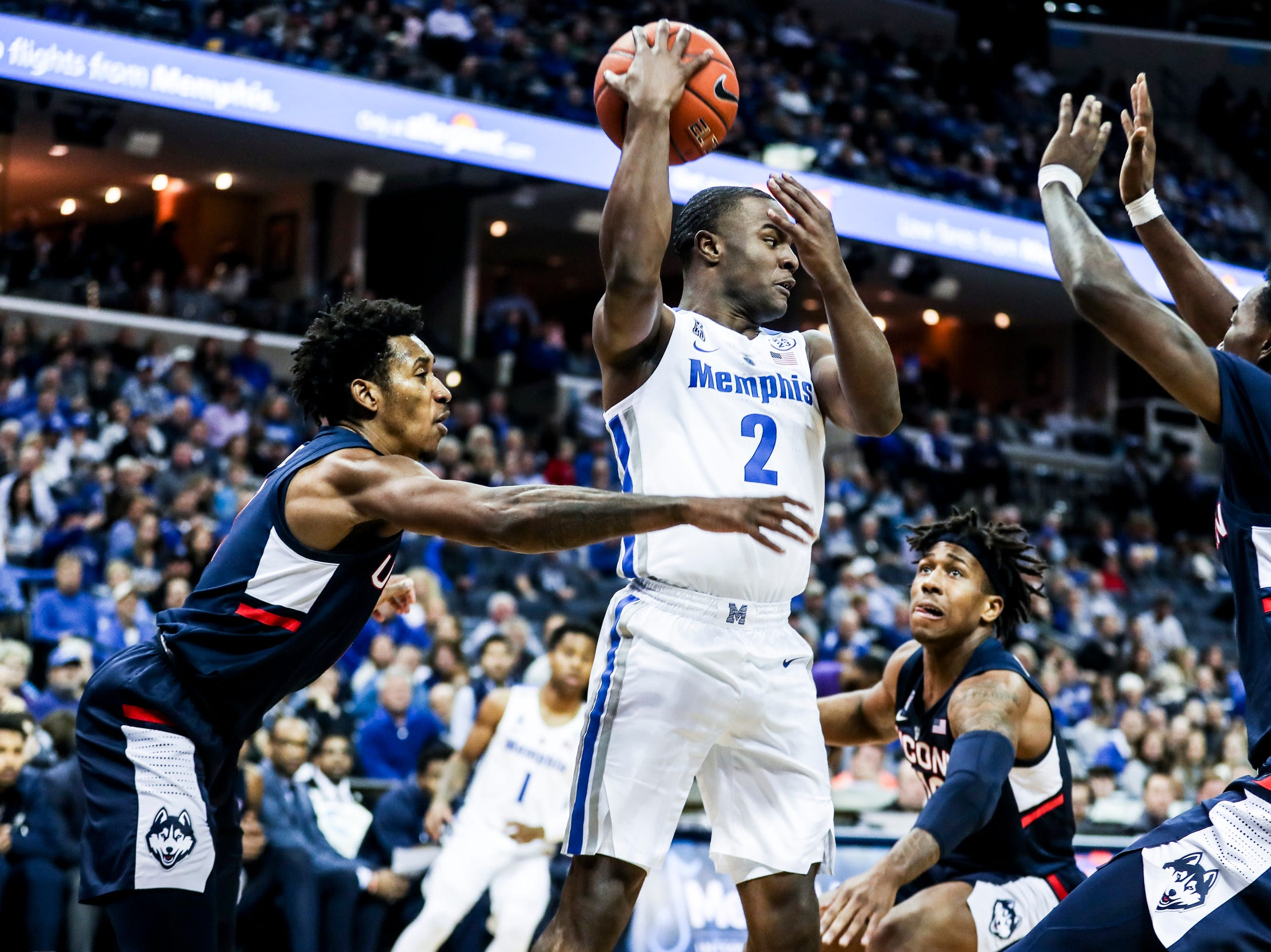 February 10, 2019 - Memphis' Alex Lomax passes the ball off during Sunday's game versus Connecticut at the FedExForum.
