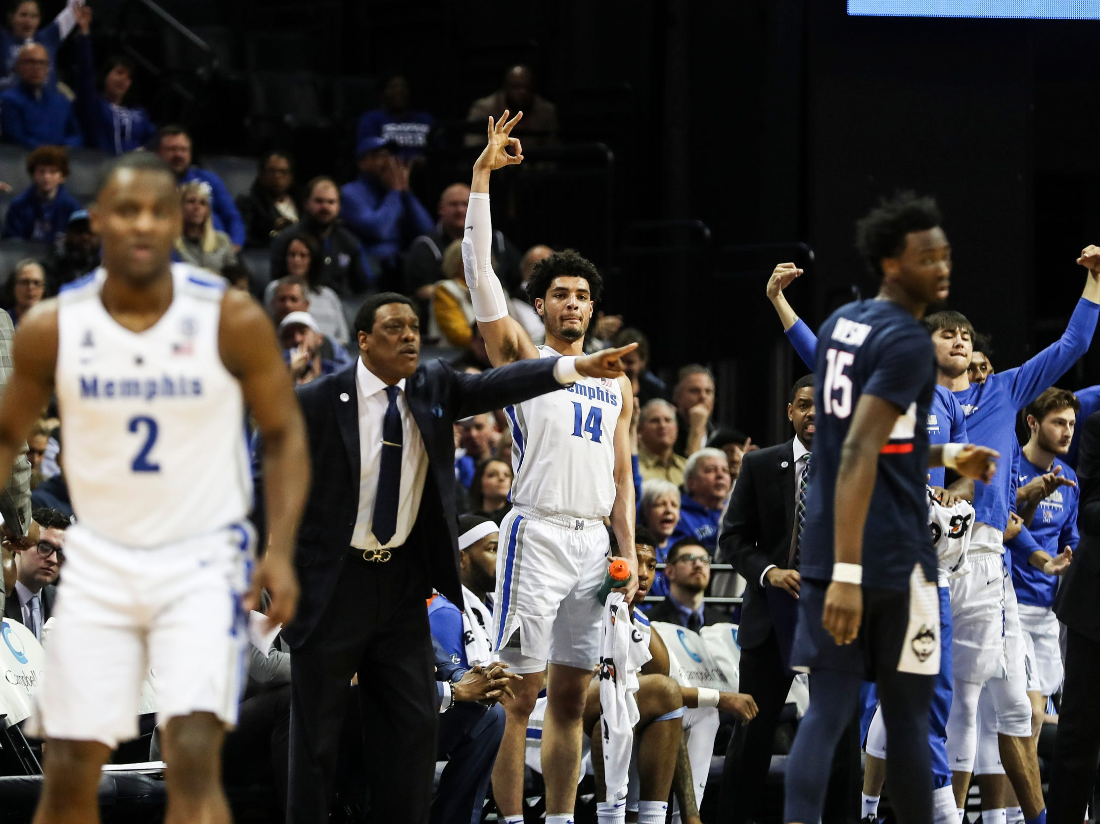 February 10, 2019 - Memphis players react during Sunday's game versus Connecticut at the FedExForum.