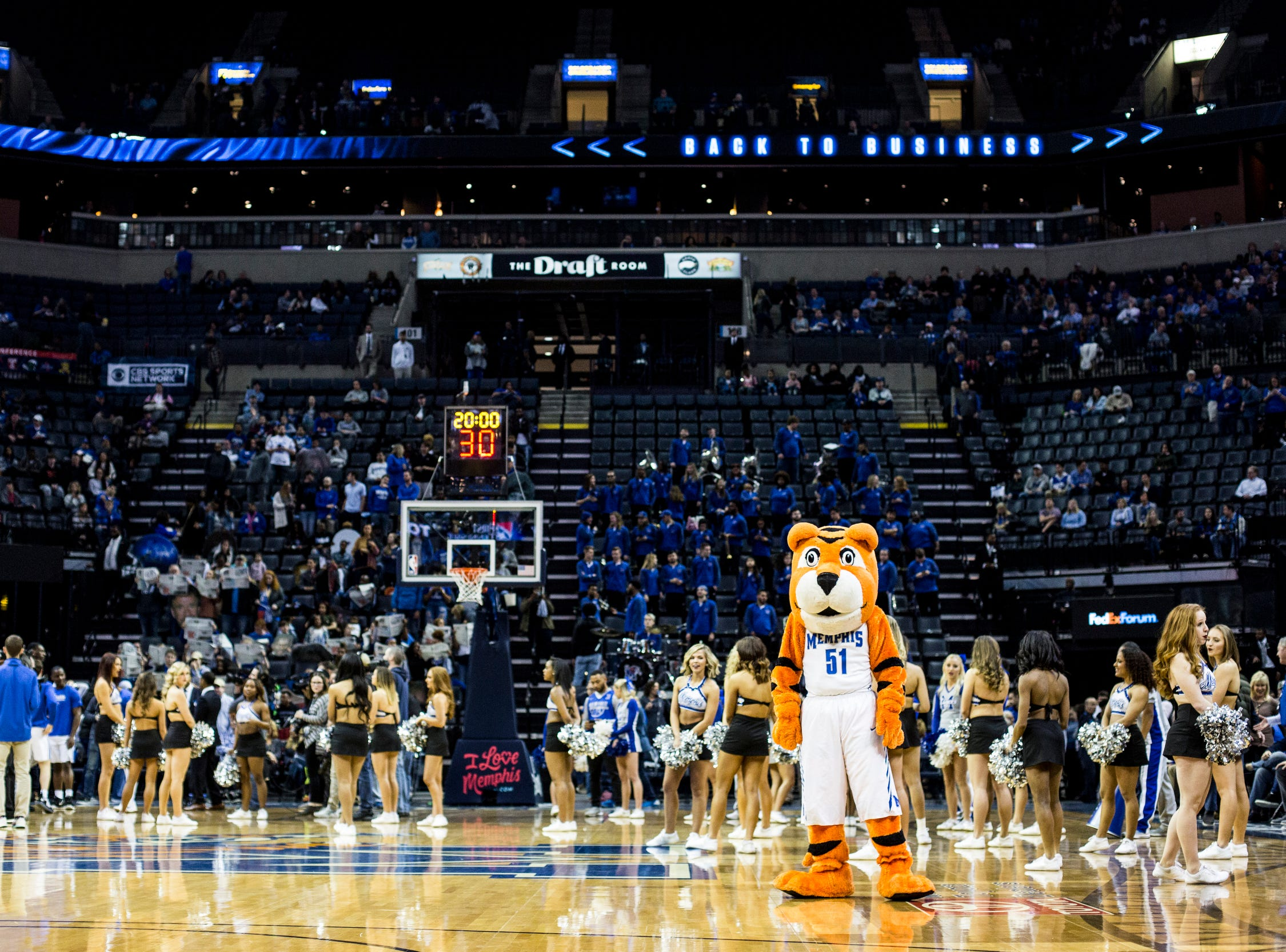 February 10, 2019 - Pouncer is seen before the start of Sunday's game versus Connecticut at the FedExForum.
