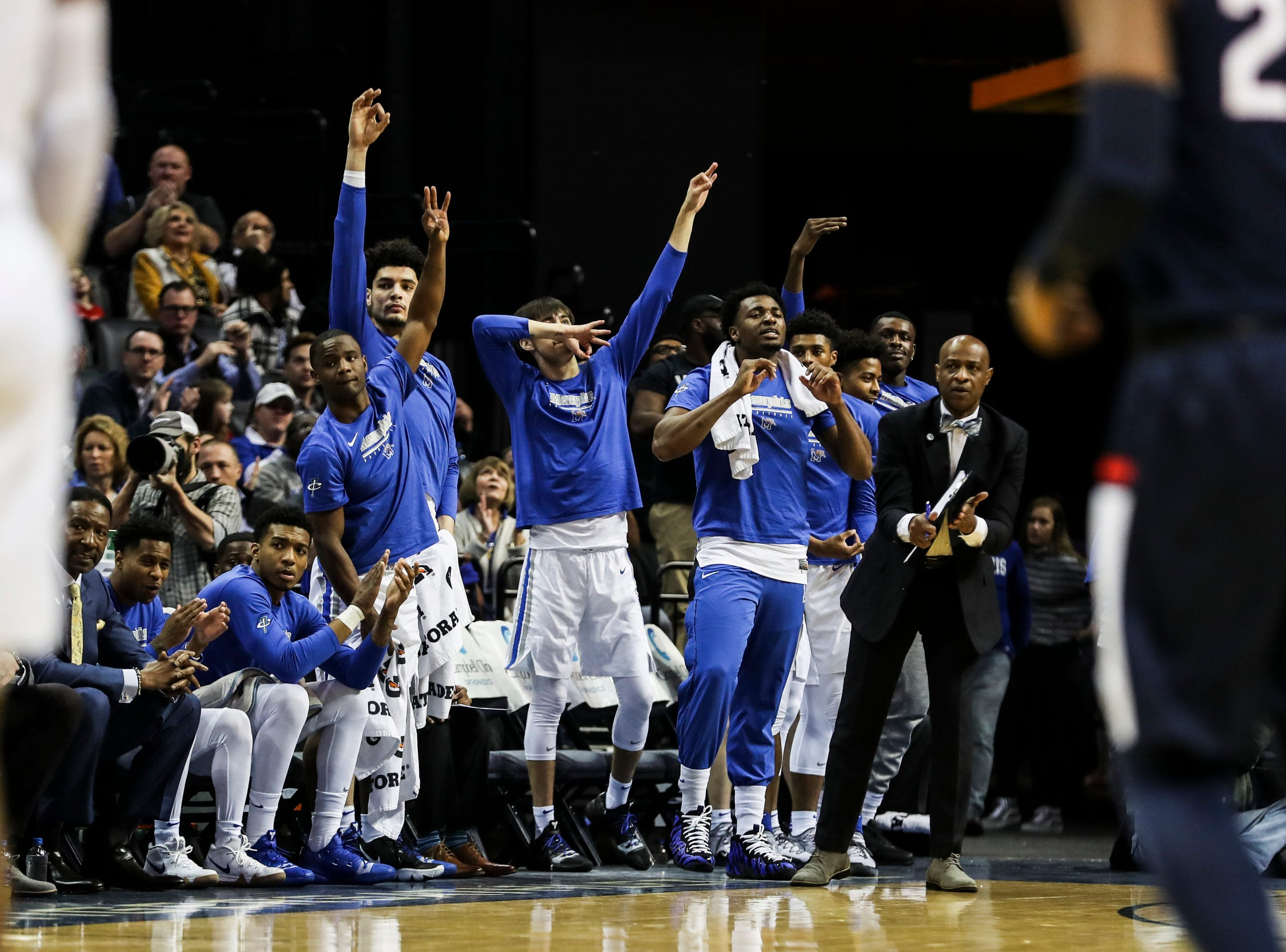 February 10, 2019 - The Memphis bench reacts during Sunday's game versus Connecticut at the FedExForum.