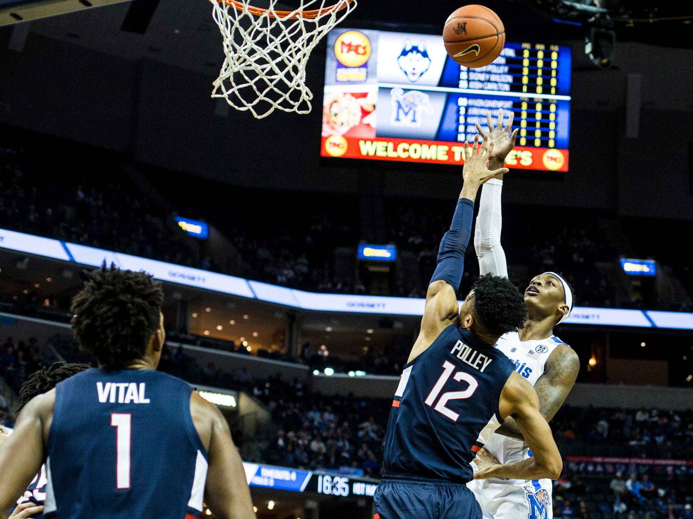 February 10, 2019 - Kyvon Davenport attempts a shot during Sunday's game versus Connecticut at the FedExForum.