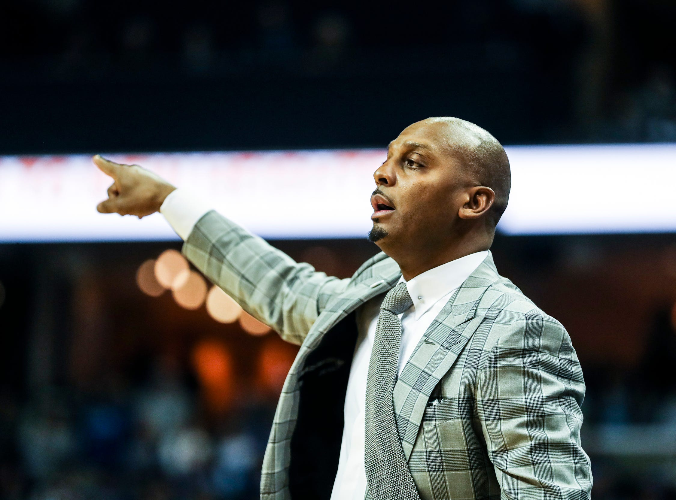 February 10, 2019 - Memphis' head coach, Penny Hardaway, communicates with his players during Sunday's game versus Connecticut at the FedExForum.
