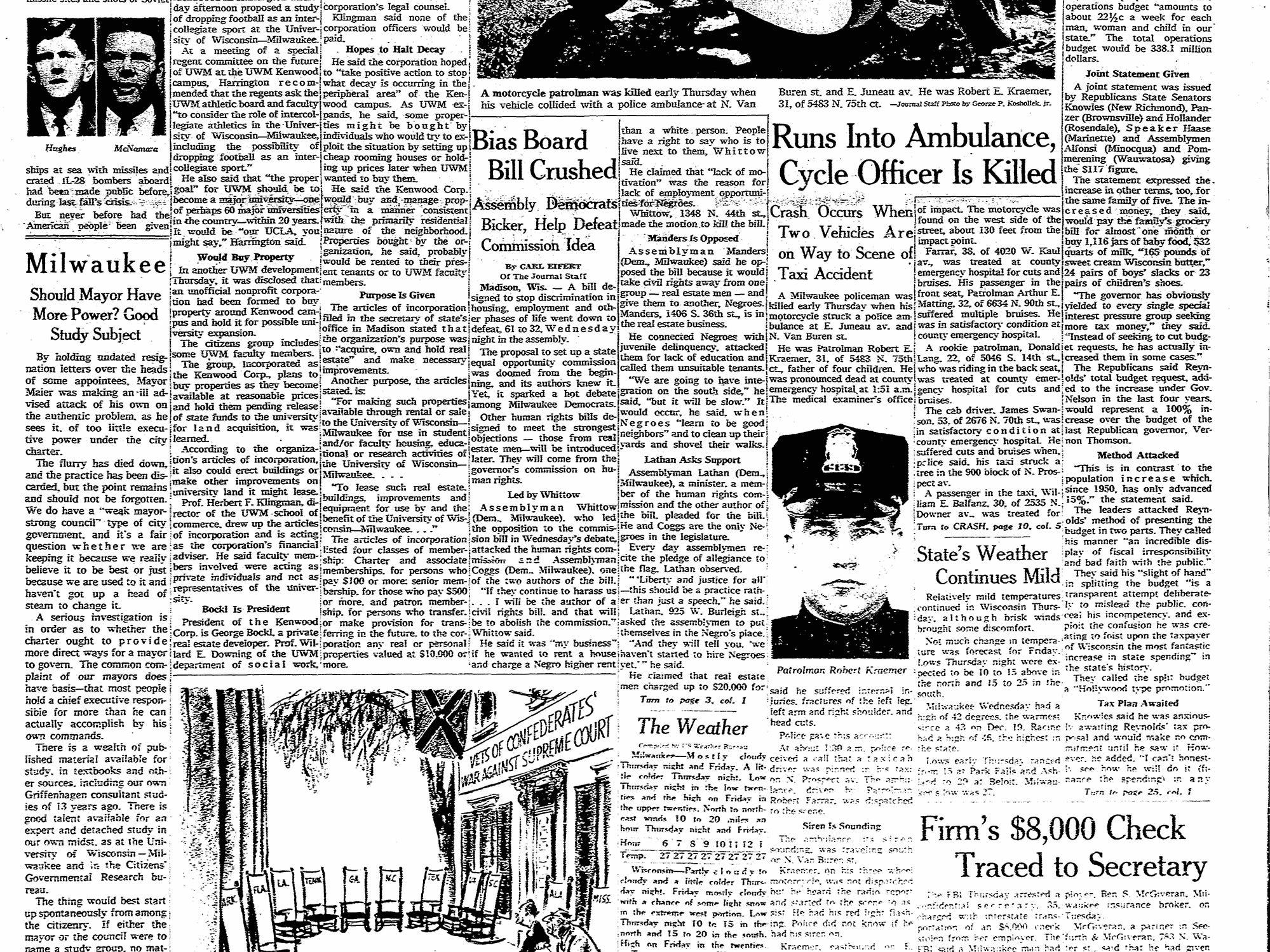 Robert Kraemer Start of duty: February 22, 1960      End of watch: February 7, 1963