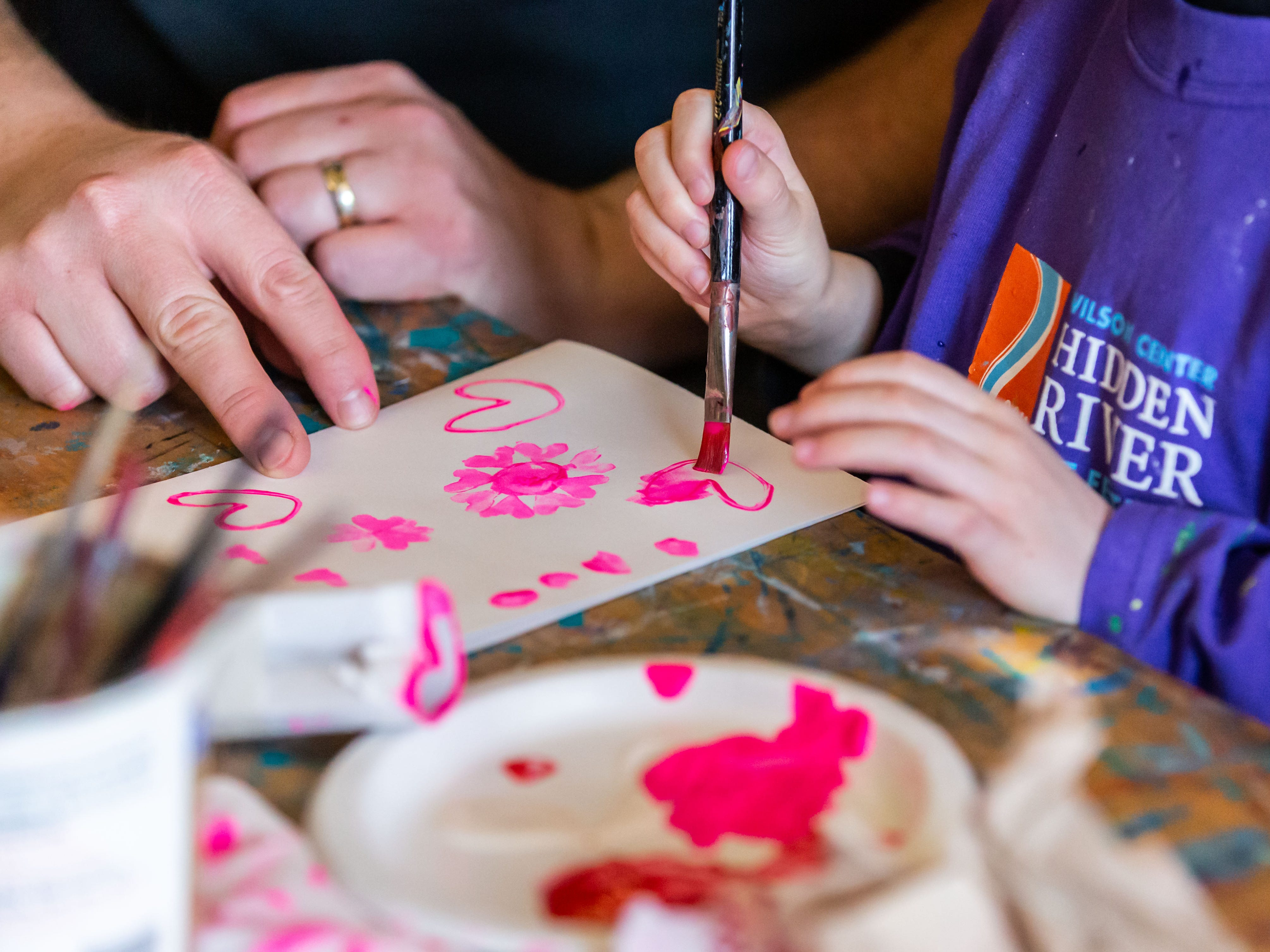 Participants create printed Valentine's Day cards with Burlington artist Tiffany Knopow during the Free Family Art Workshop at the Sharon Lynne Wilson Center for the Arts in Brookfield on Saturday, Feb. 9, 2019. The free art workshops are held from 10 a.m. to noon on the second Saturday of each month. For more info visit wilson-center.com/classes.