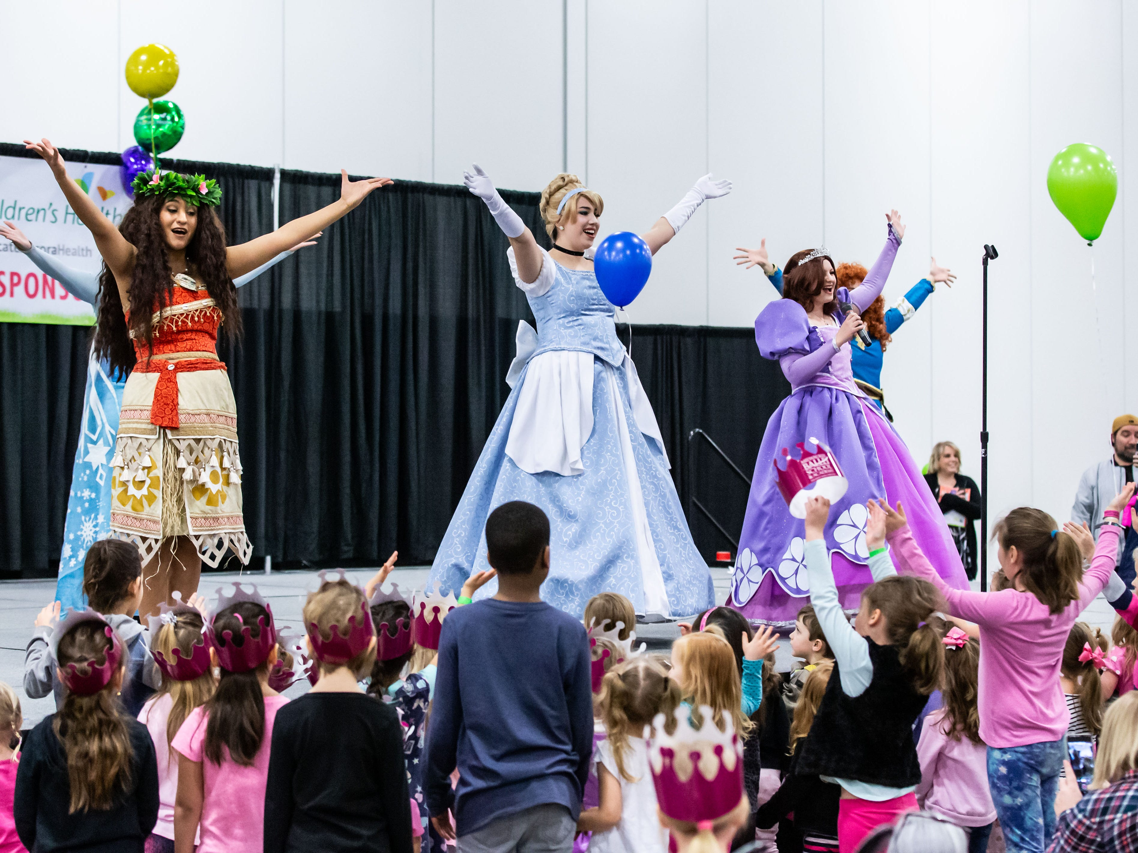 The Fairytale Birthday Company Princesses perform on the main stage during the Milwaukee Kids Expo at State Fair Park in West Allis on Sunday, Feb. 10, 2019. The two-day expo featured bounce houses, a petting zoo, a rock climbing wall, pony rides, caricature paintings, a maze challenge and much more.