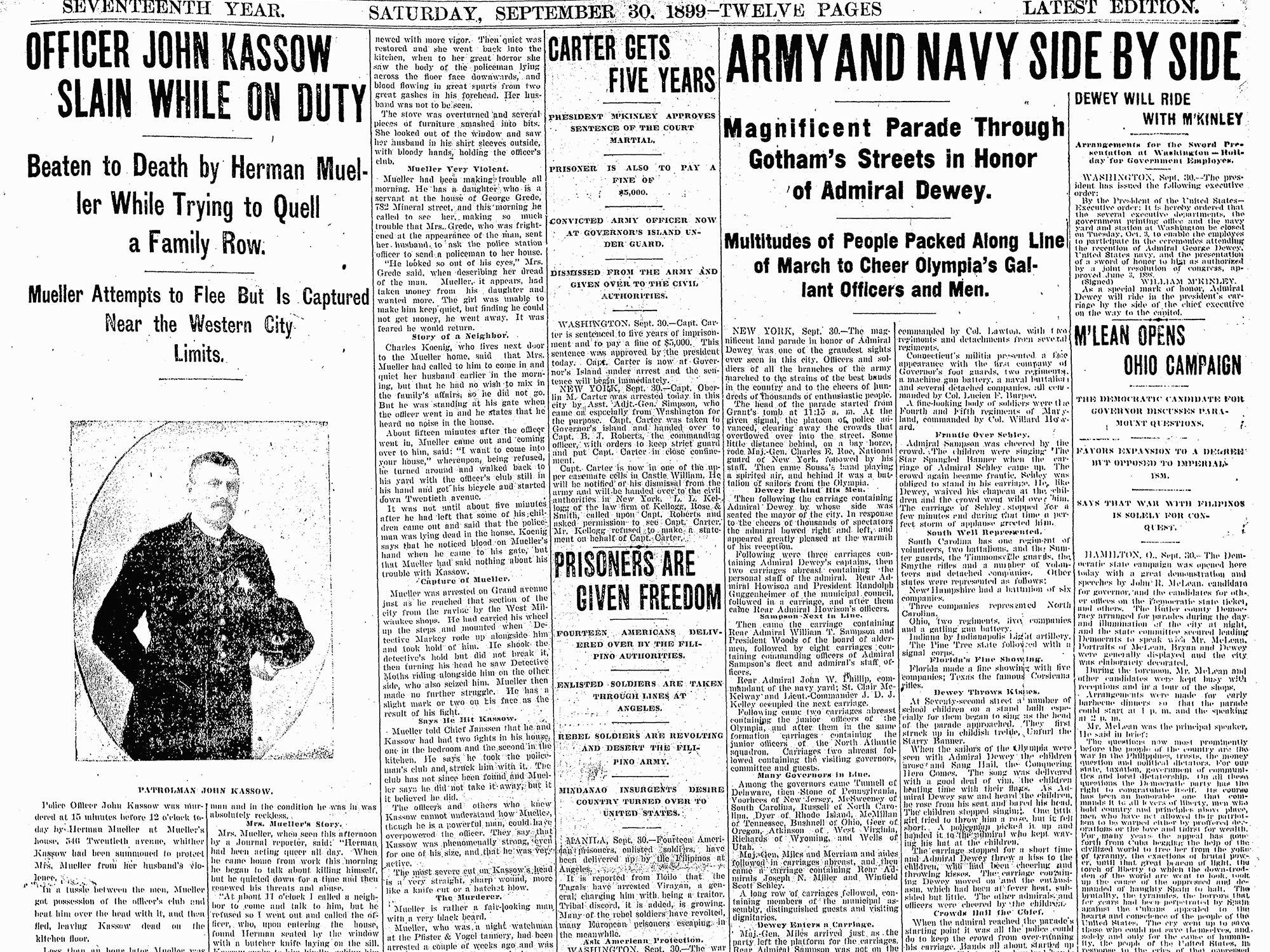 John Kassow Start of duty: March 1, 1890 End of watch: September 30, 1899