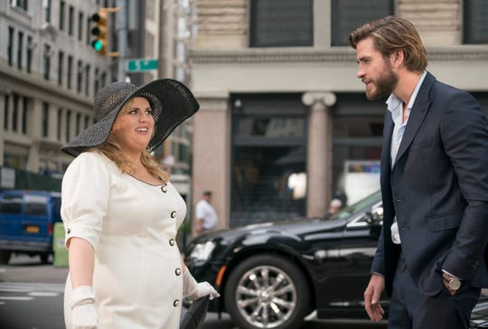 "Rebel Wilson (left) is pretty sure Liam Hemsworth is out of some rom-com fantasy in ""Isn't It Romantic."""