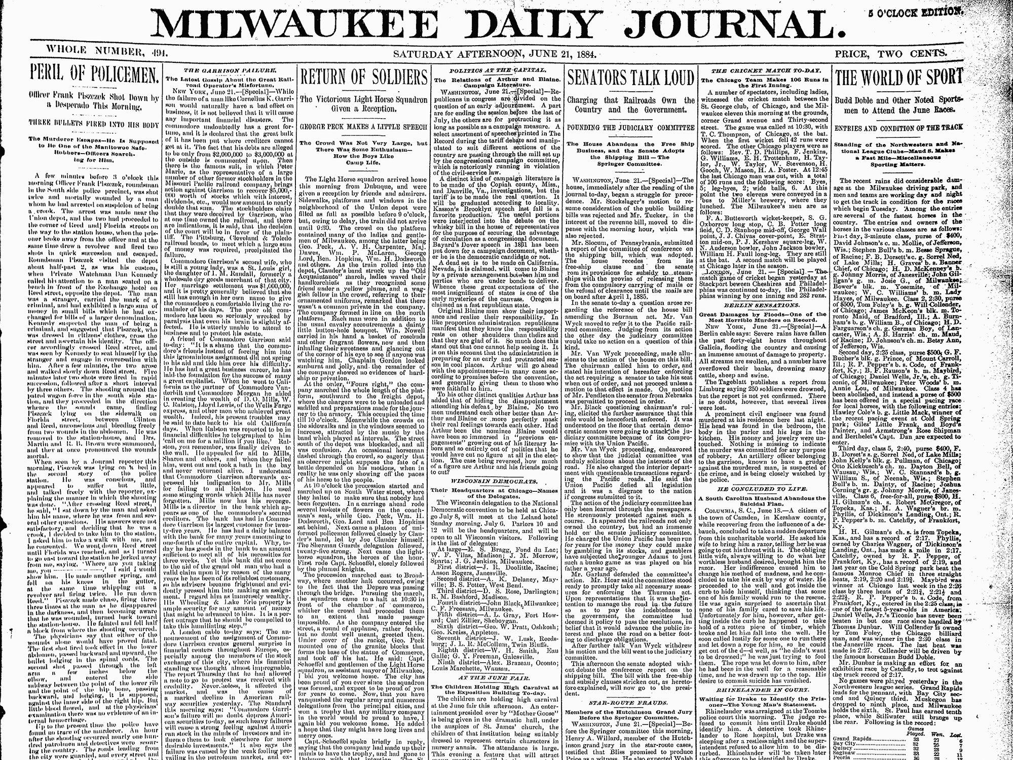 Frank Piszczek End of watch: June 22, 1884