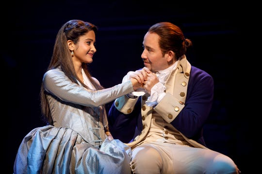 "Shoba Narayan and Joseph Morales perform in the national touring company of ""Hamilton."""