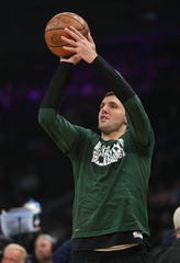 Nikola Mirotic takes part in the Bucks' shootaround before the game against the Magic on Saturday at Fiserv Forum. Mirotic has been dealing with a strained right calf muscle and did not play against Orlando, but might play Monday against the Chicago Bulls.