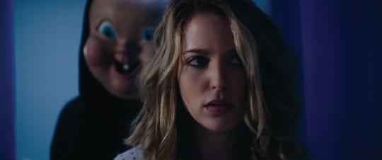 "Jessica Rothe (right) is being stalked, again, by the ""Babyface"" killer in ""Happy Death Day 2U."""
