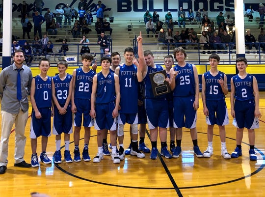 The Cotter Junior Warriors rallied to defeat Yellville-Summit in the 2A-1 Junior District Tournament championship on Saturday at Decatur. The team is coached by Jackson Rains.