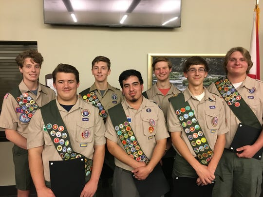 Seven members of Troop 79 received their Eagle Scout Badge Saturday night. Back row, from left: Mac Thompson, Sam Thompson, Tate Swanner and Logan Hicks. Front row, from left: Braxton Murphy, Kaleb Thorn, Dallas Ousley.