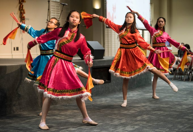 Mongolian dance is performed during the Central Alabama Association of Chinese 2019 Montgomery Chinese New Year festsival at Frazer Church in Montgomery, Ala., on Saturday, Feb. 9, 2019.
