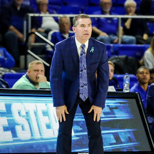MTSU coach Nick McDevitt looks on during the Blue Raiders' 55-50 loss to Old Dominion on Feb. 9, 2019.