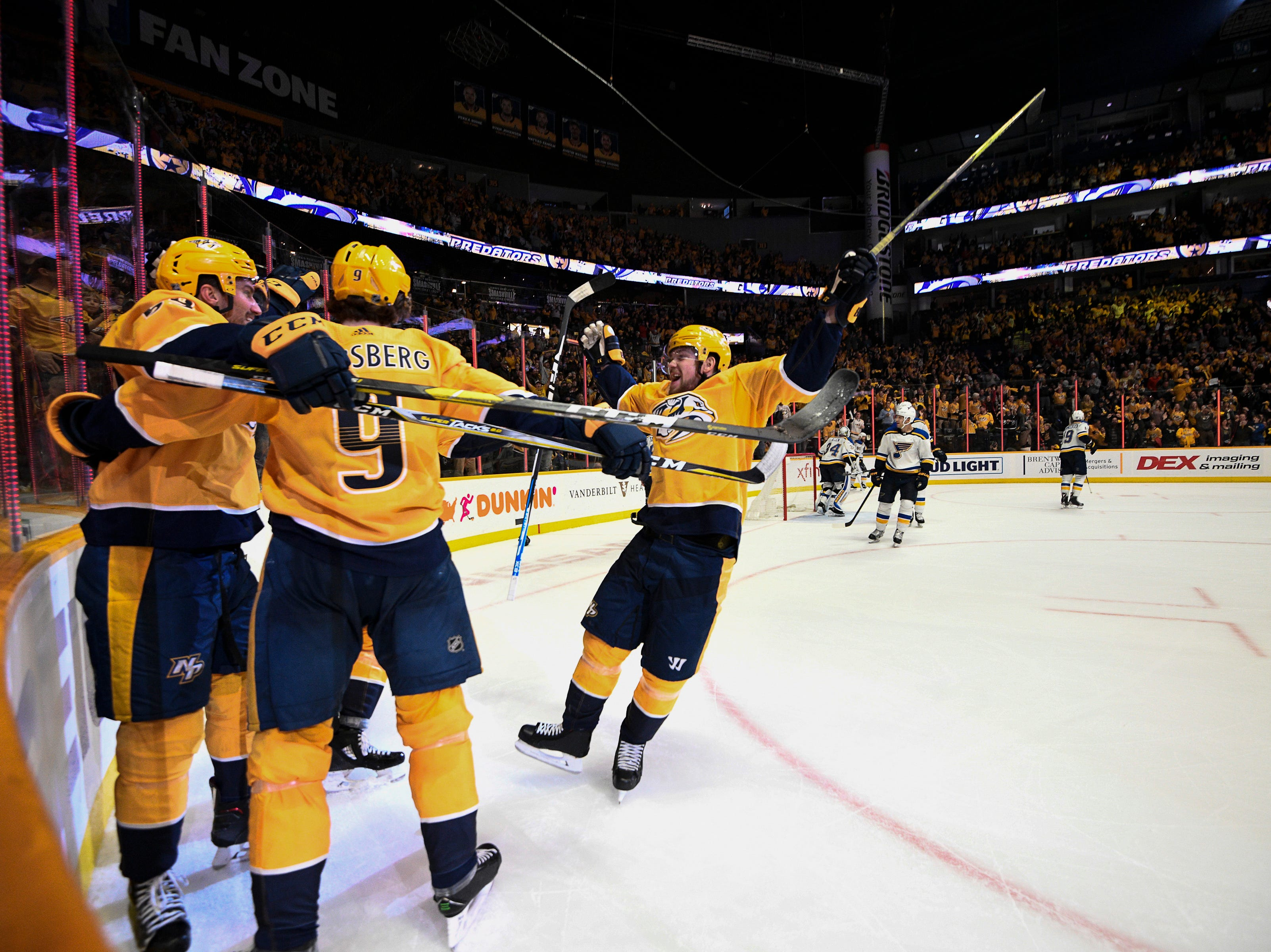 Predators right wing Viktor Arvidsson (33) congratulates left wing Filip Forsberg (9) after his goal against the Blues during the third period at Bridgestone Arena Sunday Feb. 10, 2019 in Nashville, Tenn.