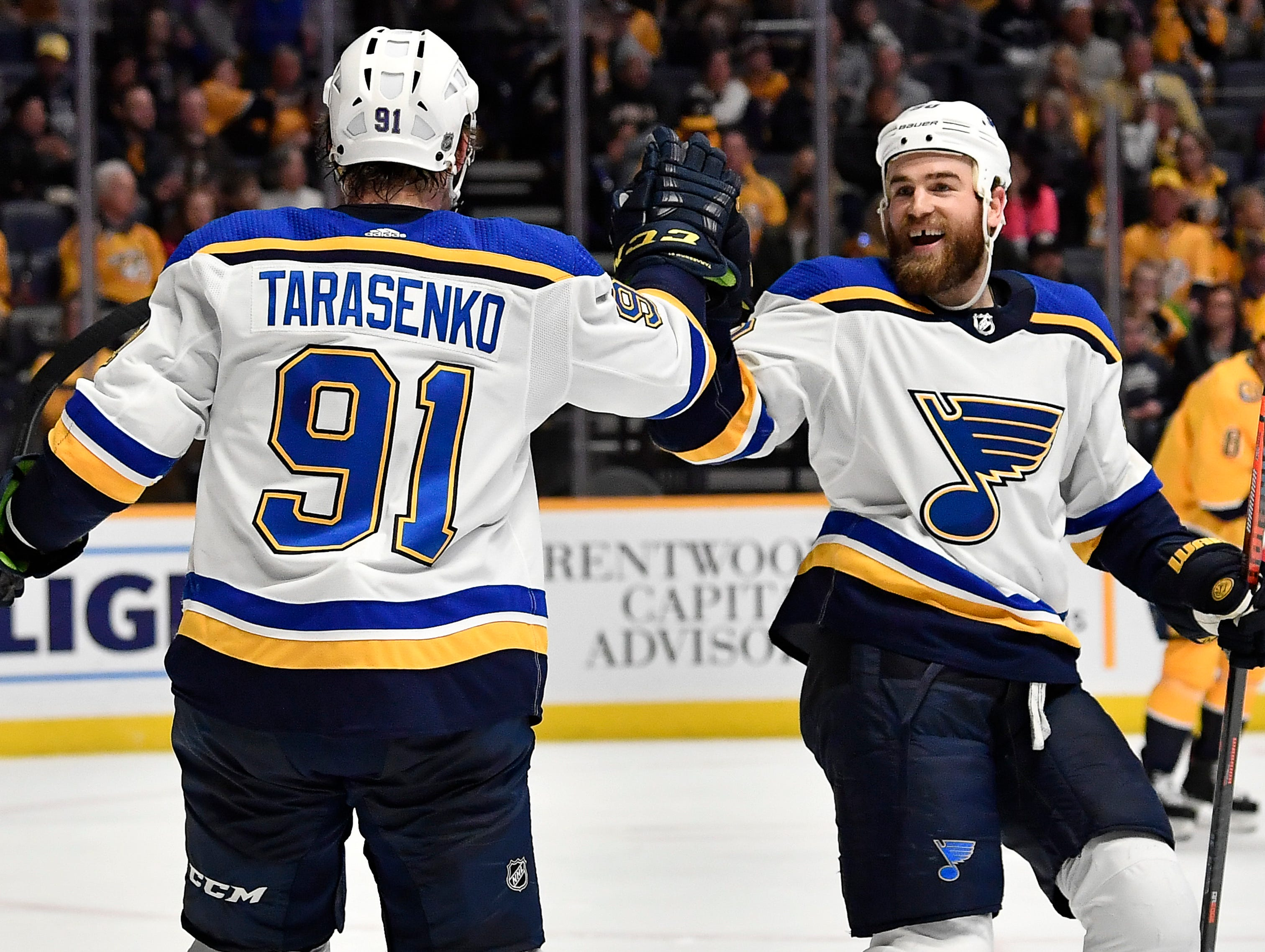 Blues right wing Vladimir Tarasenko (91) is congratulated after one of his goals during the second period against the Predators at Bridgestone Arena Sunday Feb. 10, 2019 in Nashville, Tenn.