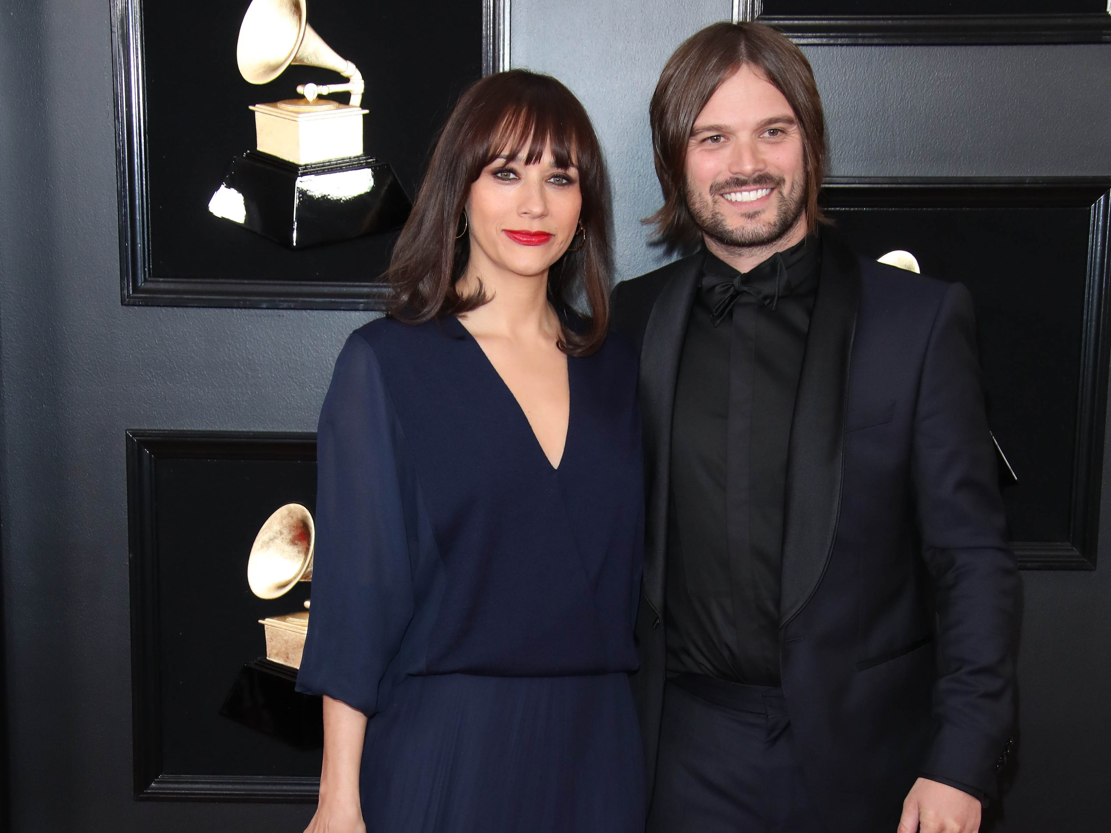 Rashida Jones, left and Alan Hicks attend the 61st Annual GRAMMY Awards on Feb. 10, 2019 at STAPLES Center in Los Angeles, Calif.