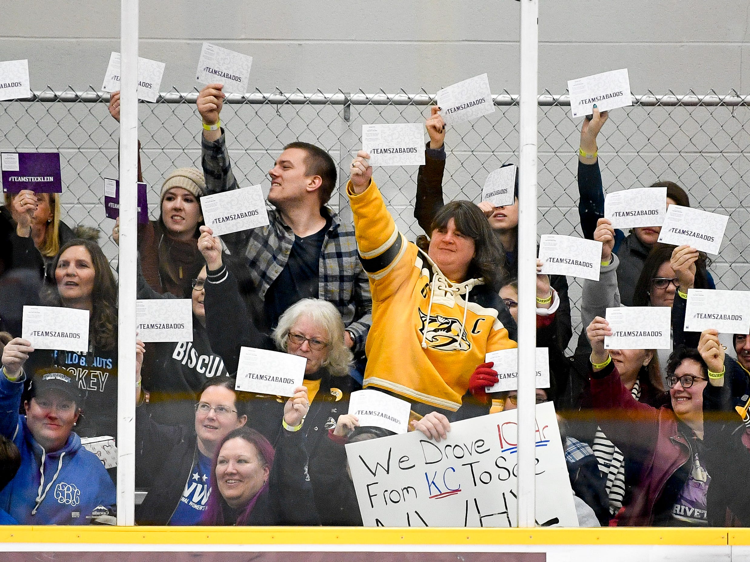 Fans vote for a winner in the trick shot challenge during the 2019 NWHL All-Star Weekend Skills Competition at Ford Ice Center in Antioch, Tenn., Saturday, Feb. 9, 2019.