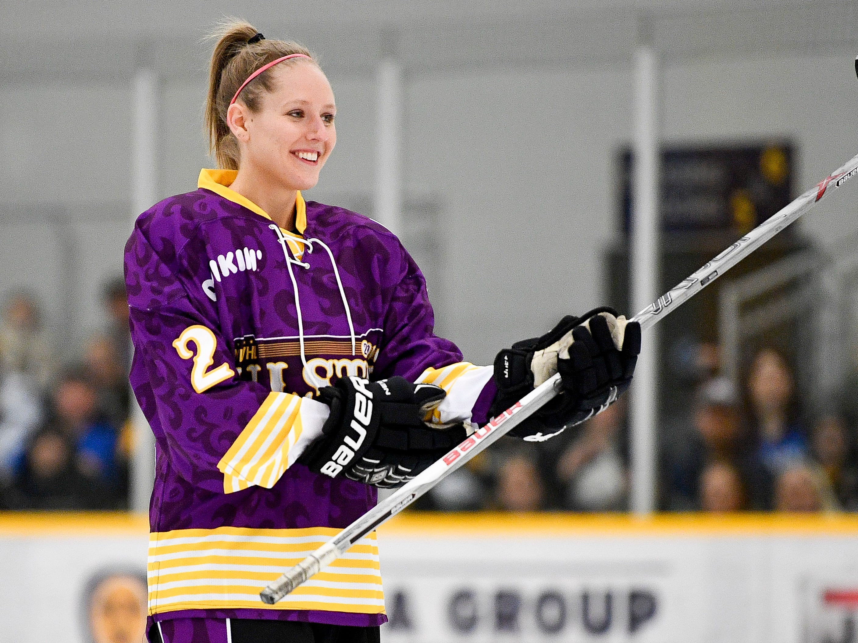 Alyssa Gagliardi competes in hardest shot competition during the 2019 NWHL All-Star Weekend Skills Competition at Ford Ice Center in Antioch, Tenn., Saturday, Feb. 9, 2019.