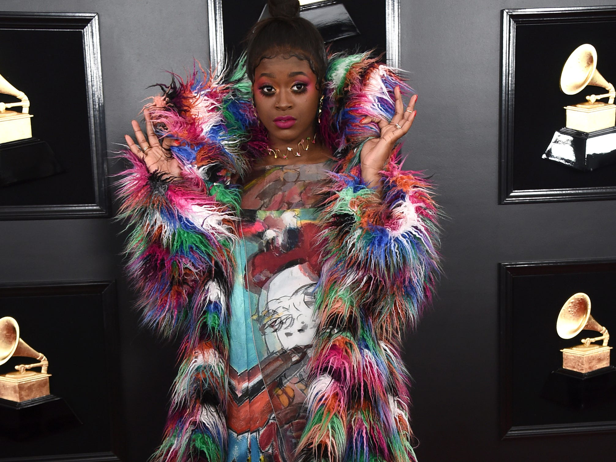 Tierra Whack arrives at the 61st annual Grammy Awards at the Staples Center on Sunday, Feb. 10, 2019, in Los Angeles.