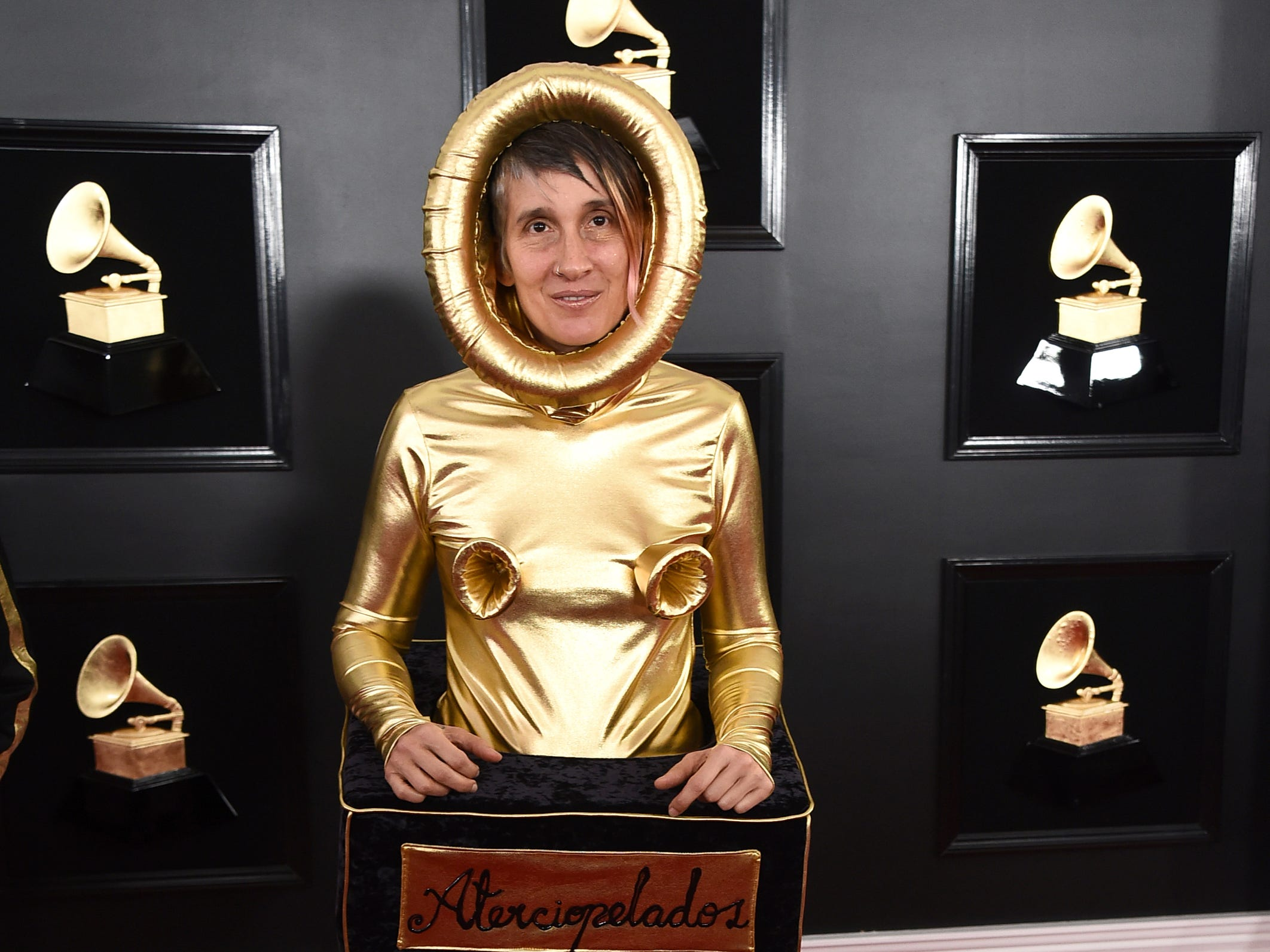 Andrea Echeverri, of Aterciopelados, arrives at the 61st annual Grammy Awards at the Staples Center on Sunday, Feb. 10, 2019, in Los Angeles.