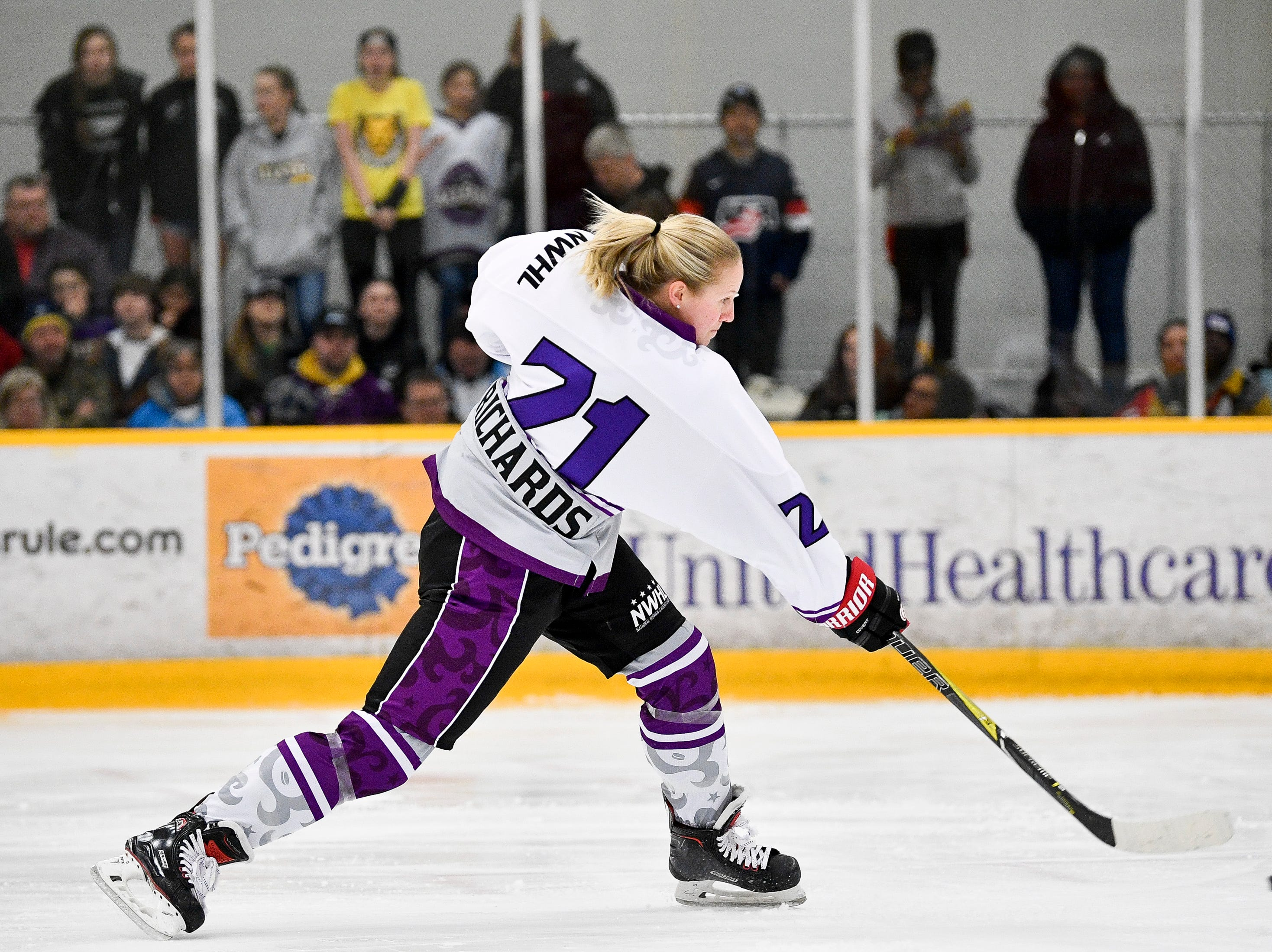 Audra Richards competes in hardest shot competition during the 2019 NWHL All-Star Weekend Skills Competition at Ford Ice Center in Antioch, Tenn., Saturday, Feb. 9, 2019.