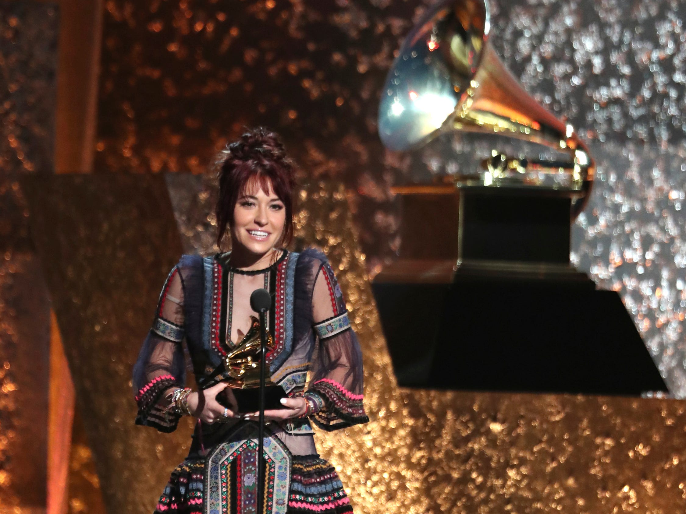 "Lauren Daigle accepts the award for best contemporary christian music/song for ""You Say"" at the 61st annual Grammy Awards on Sunday, Feb. 10, 2019, in Los Angeles."