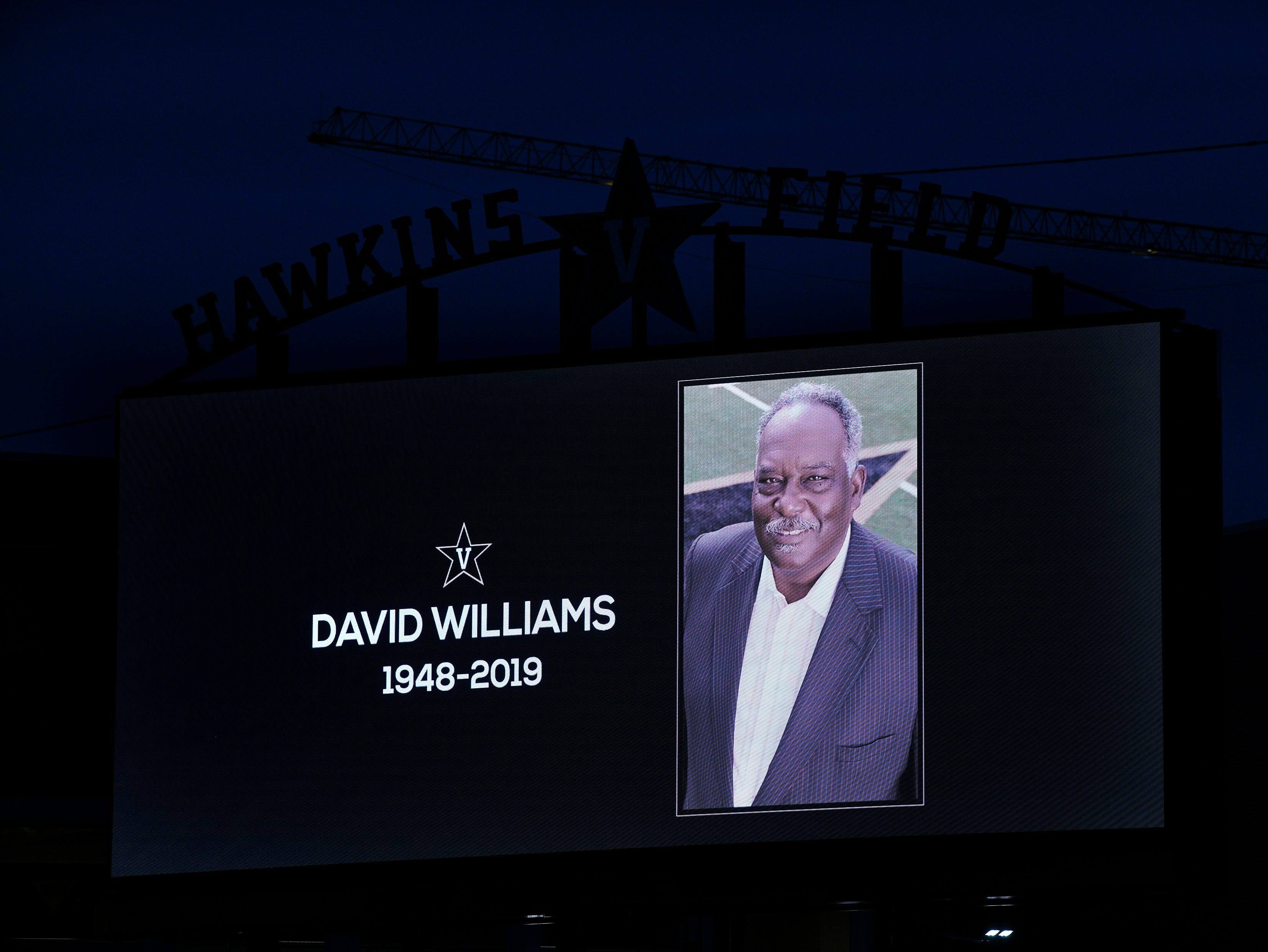Vanderbilt displays a tribute to former athletic director David Williams on the Hawkins Field video board Saturday Feb. 9, 2019 in Nashville, Tenn.