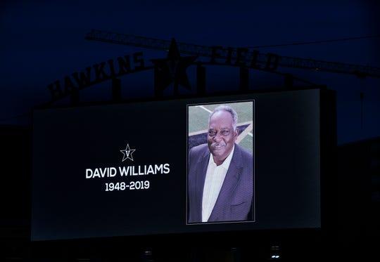 Vanderbilt displays a tribute to former athletics director David Williams on the Hawkins Field video board Saturday, Feb. 9, 2019.