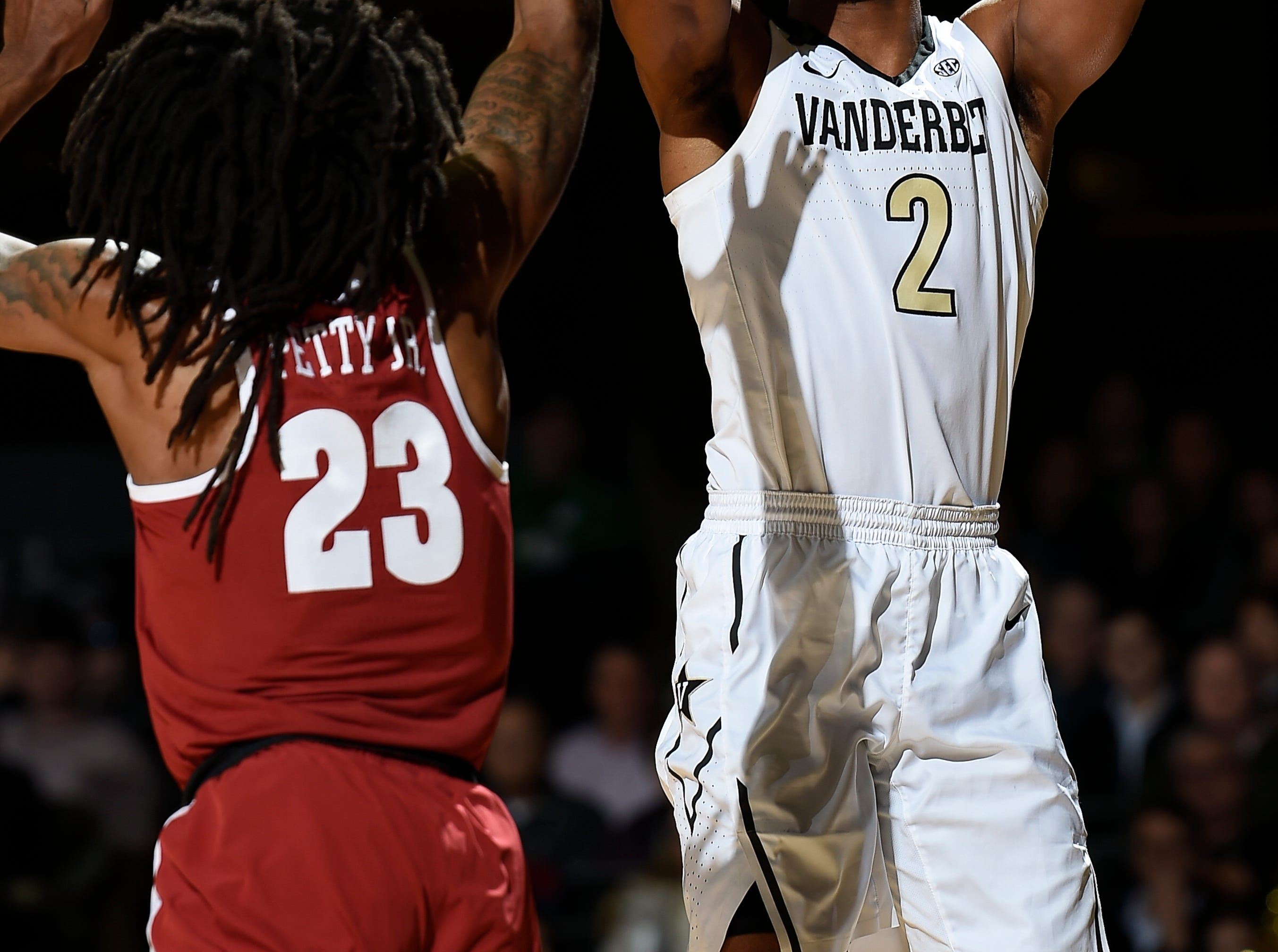 Vanderbilt guard Joe Toye (2) shoots over Alabama guard John Petty (23) during the first half at Memorial Gym Saturday Feb. 9, 2019 in Nashville, Tenn.