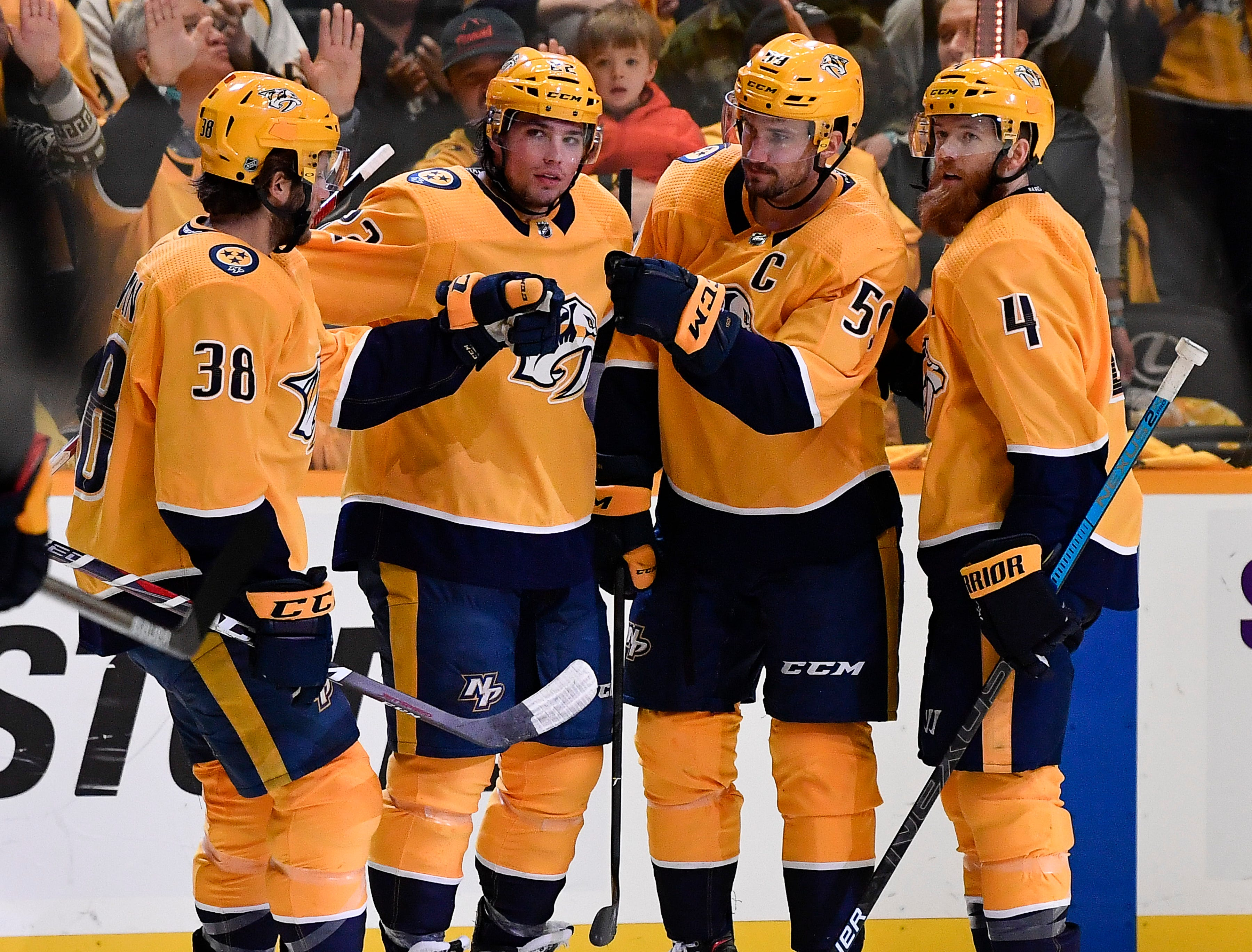Predators defenseman Roman Josi (59) is congratulated after his goal against the Blues during the third period at Bridgestone Arena Sunday Feb. 10, 2019 in Nashville, Tenn.
