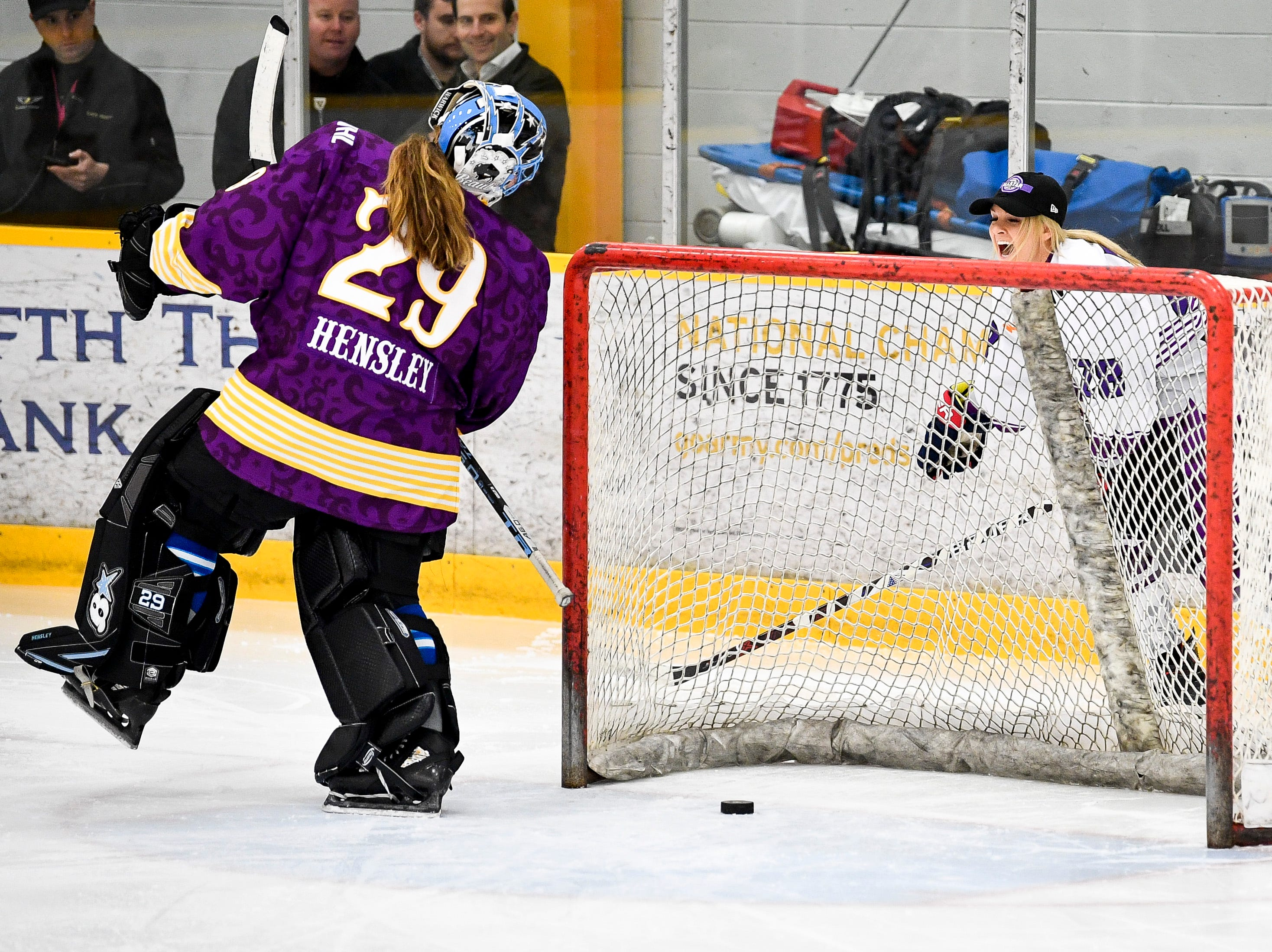 Amanda Kessel scores against Nicole Hensley in the trick shot challenge during the 2019 NWHL All-Star Weekend Skills Competition at Ford Ice Center in Antioch, Tenn., Saturday, Feb. 9, 2019.