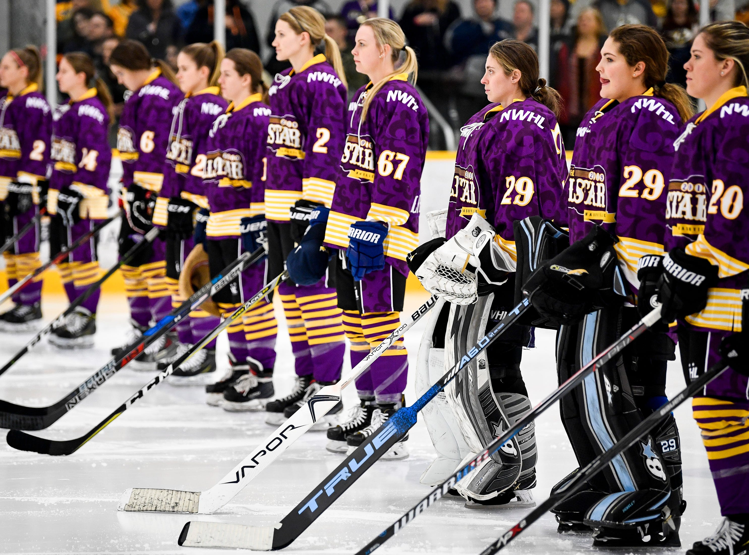 Team Stecklein players line up before the 2019 NWHL All-Star Weekend Skills Competition at Ford Ice Center in Antioch, Tenn., Saturday, Feb. 9, 2019.
