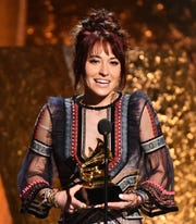 Lauren Daigle accepts the award for Best Contemporary Christian Music Album for Look Up Child at the GRAMMY Awards Premiere Ceremony at the Microsoft Theater in Los Angeles, Calif.