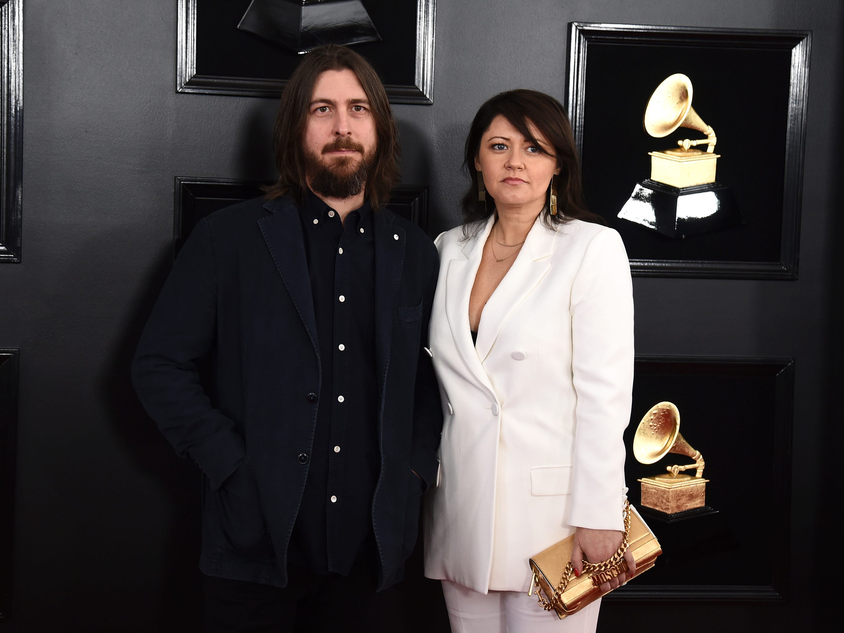 Dave Cobb, left, and Ledja Cobb arrive at the 61st annual Grammy Awards at the Staples Center on Sunday, Feb. 10, 2019, in Los Angeles.