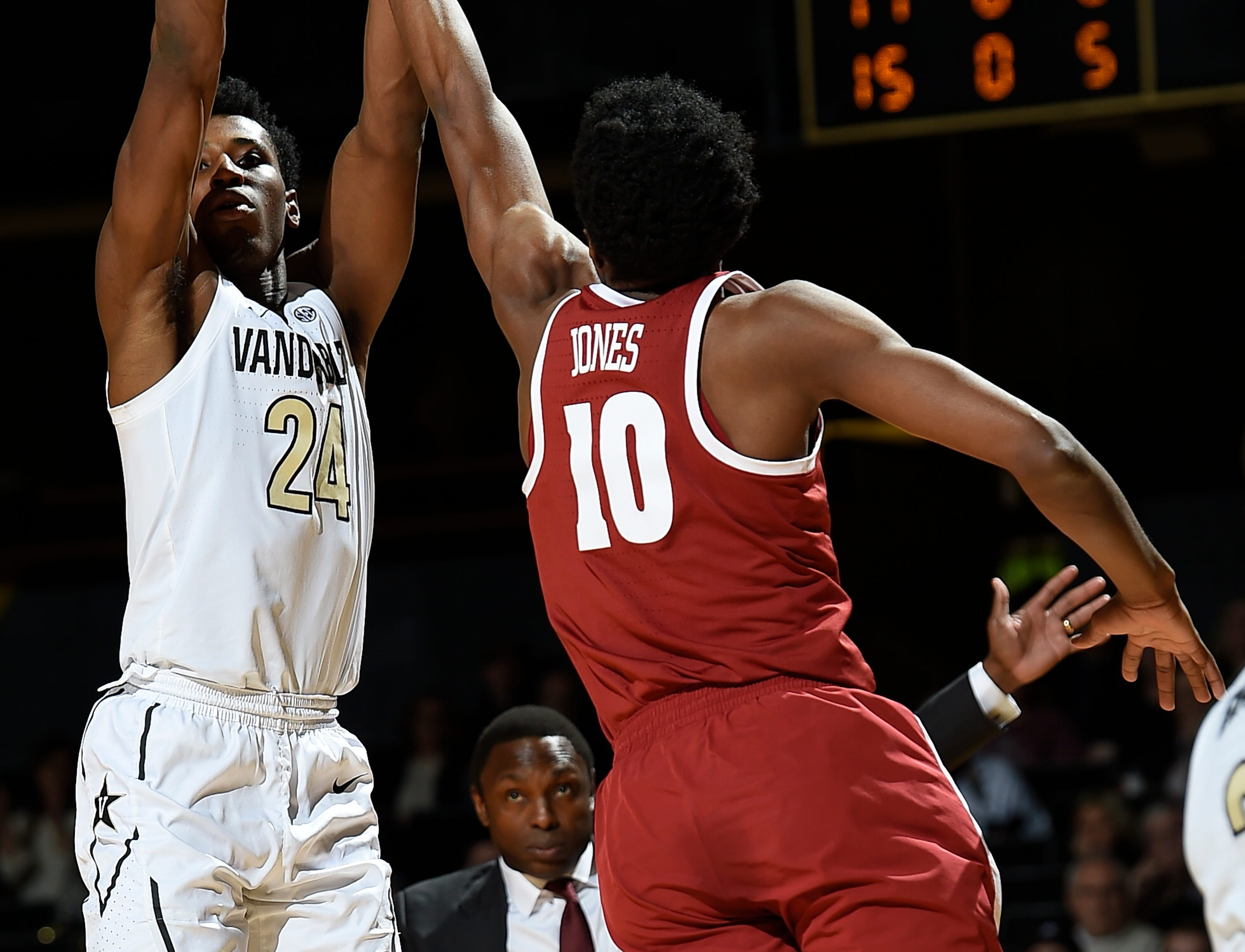 Vanderbilt forward Aaron Nesmith (24) shoots over Alabama guard Herbert Jones (10) during the first half at Memorial Gym Saturday Feb. 9, 2019 in Nashville, Tenn.