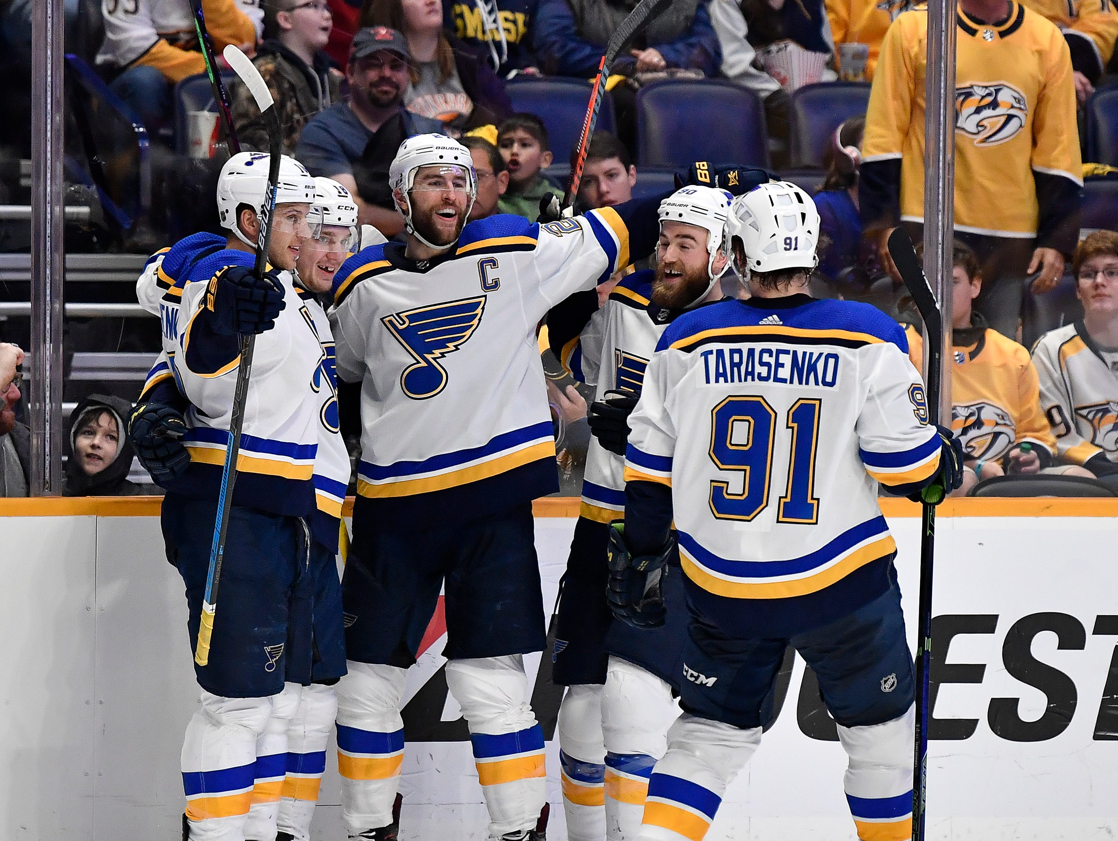 Blues celebrate a goal during the second period against the Predators at Bridgestone Arena Sunday Feb. 10, 2019 in Nashville, Tenn.