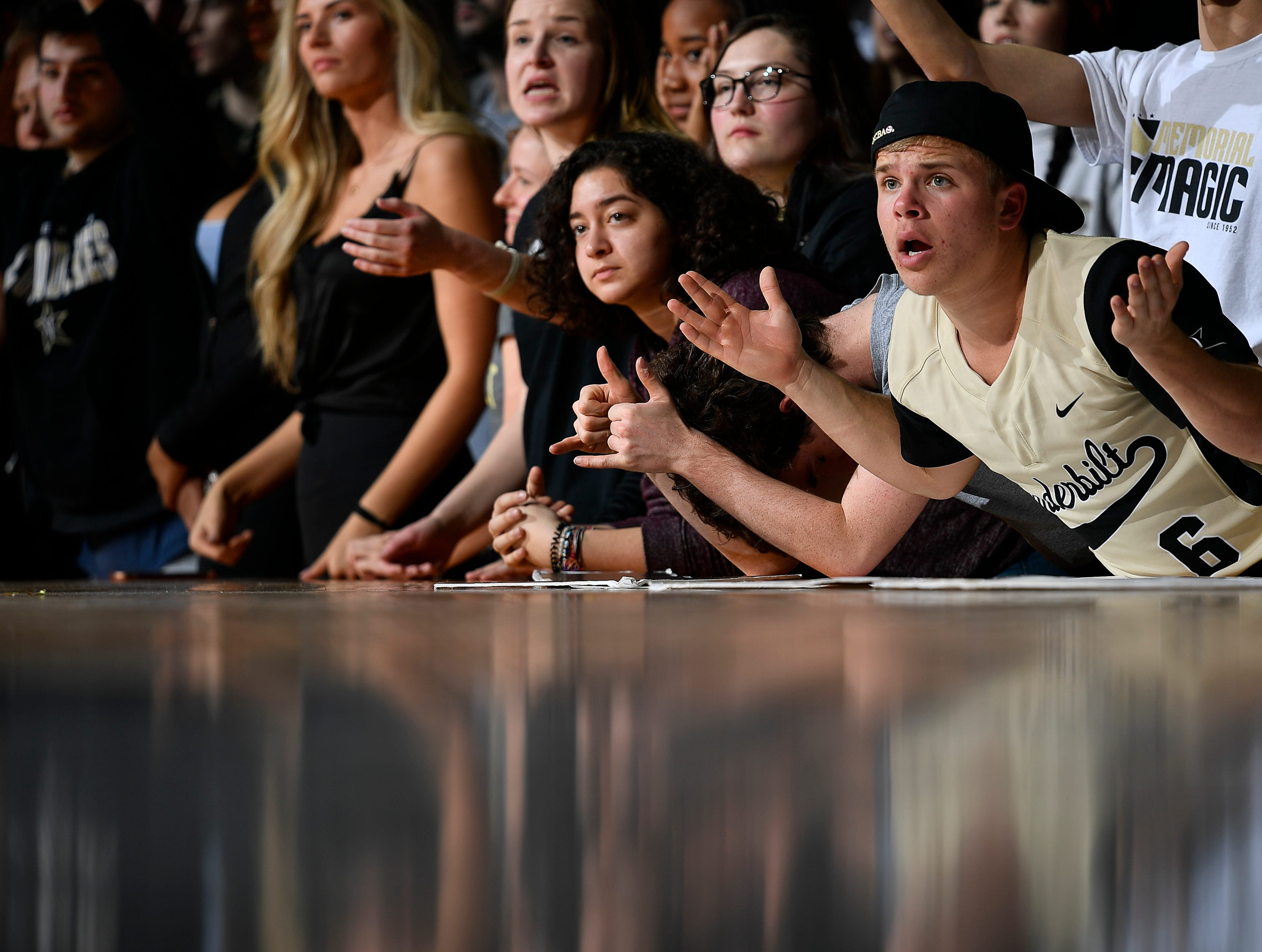 A Vanderbilt fan reacts as they lose 77 to 67 against the Alabama at Memorial Gym Saturday Feb. 9, 2019 in Nashville, Tenn.