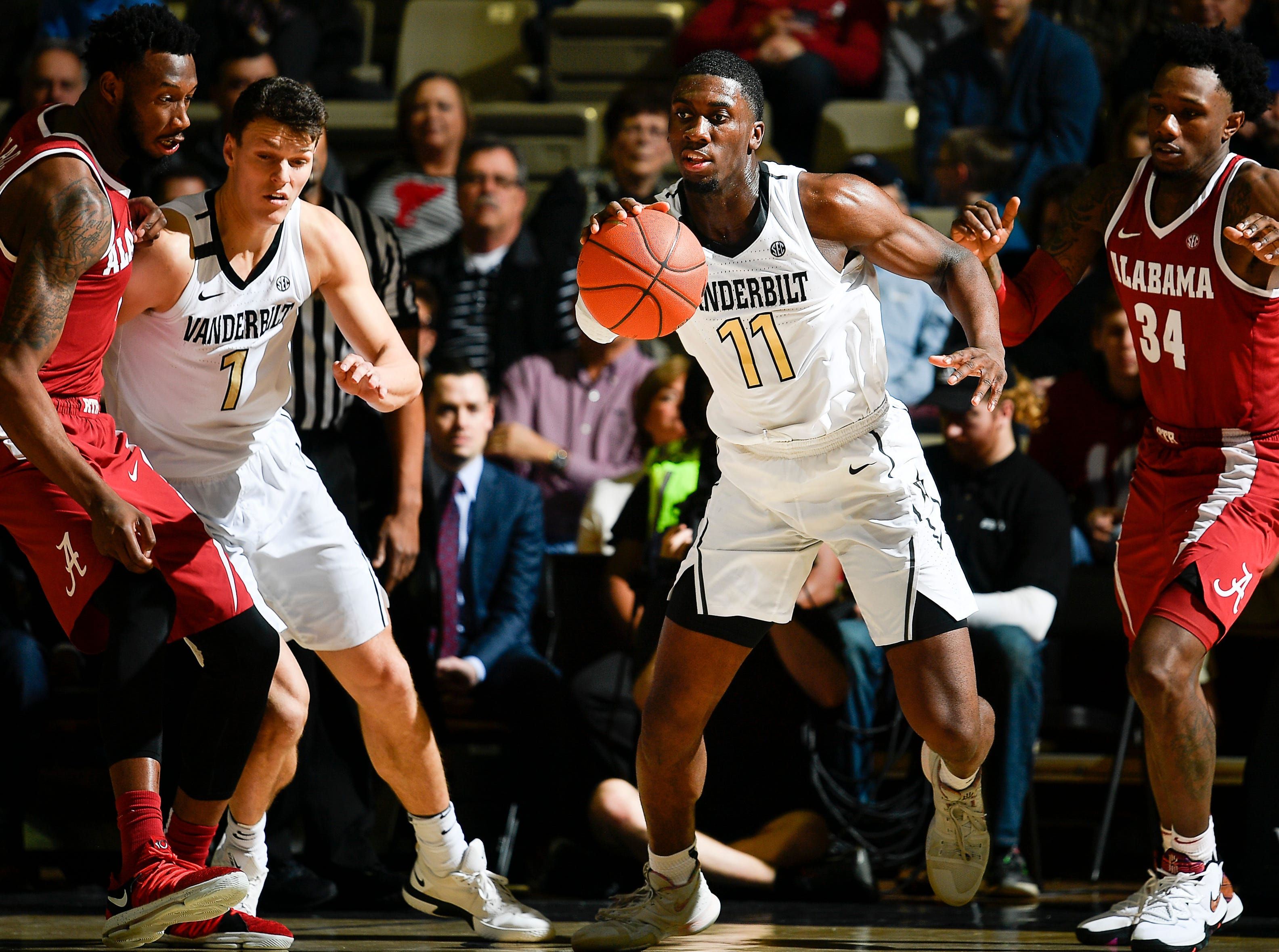 Vanderbilt forward Simisola Shittu (11) races up the court past the Alabama defense during the second half at Memorial Gym Saturday Feb. 9, 2019 in Nashville, Tenn.