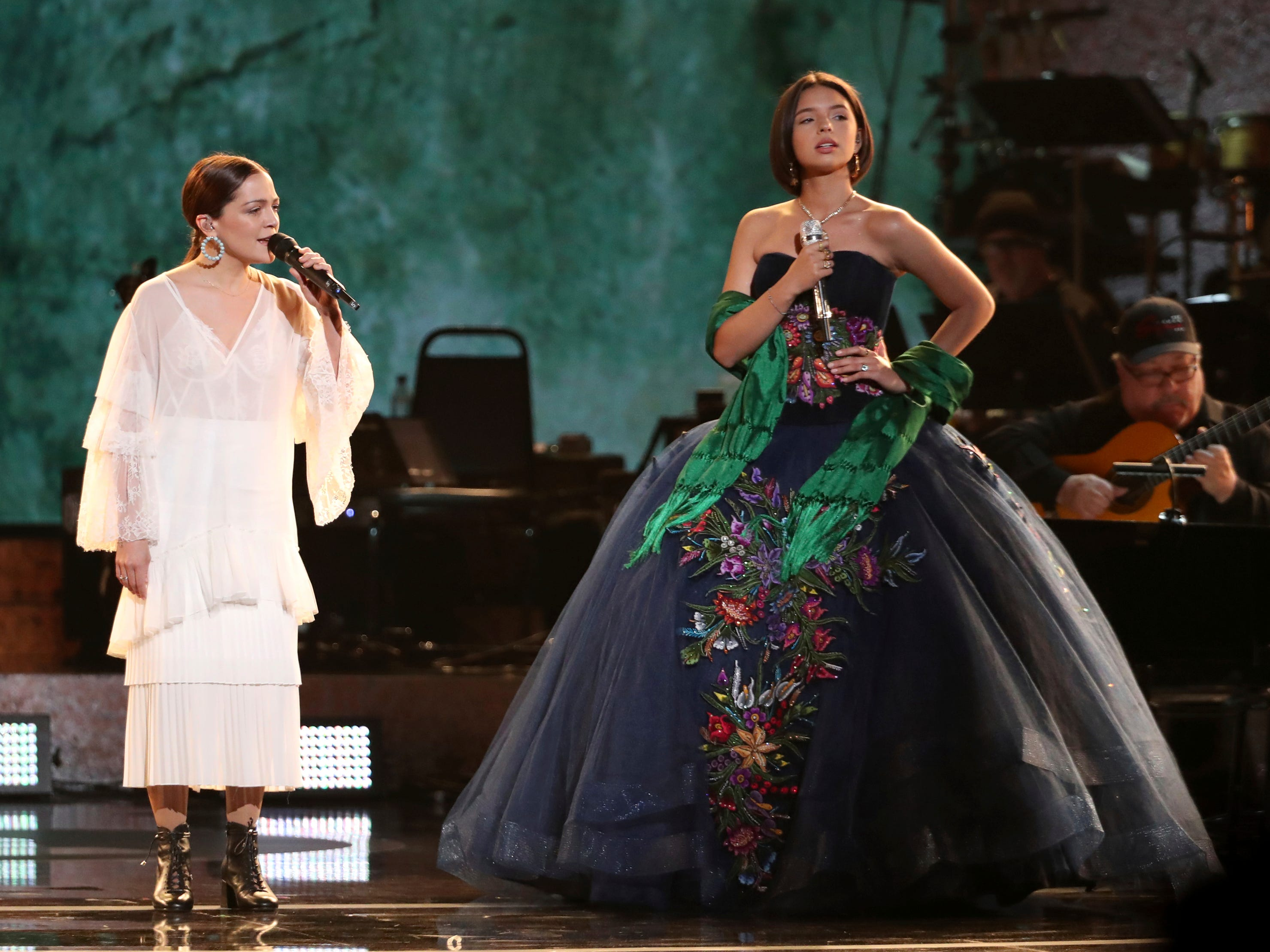 "Natalia Lafourcade, left, and Angela Aguilar perform ""La Llorona"" at the 61st annual Grammy Awards on Sunday, Feb. 10, 2019, in Los Angeles."