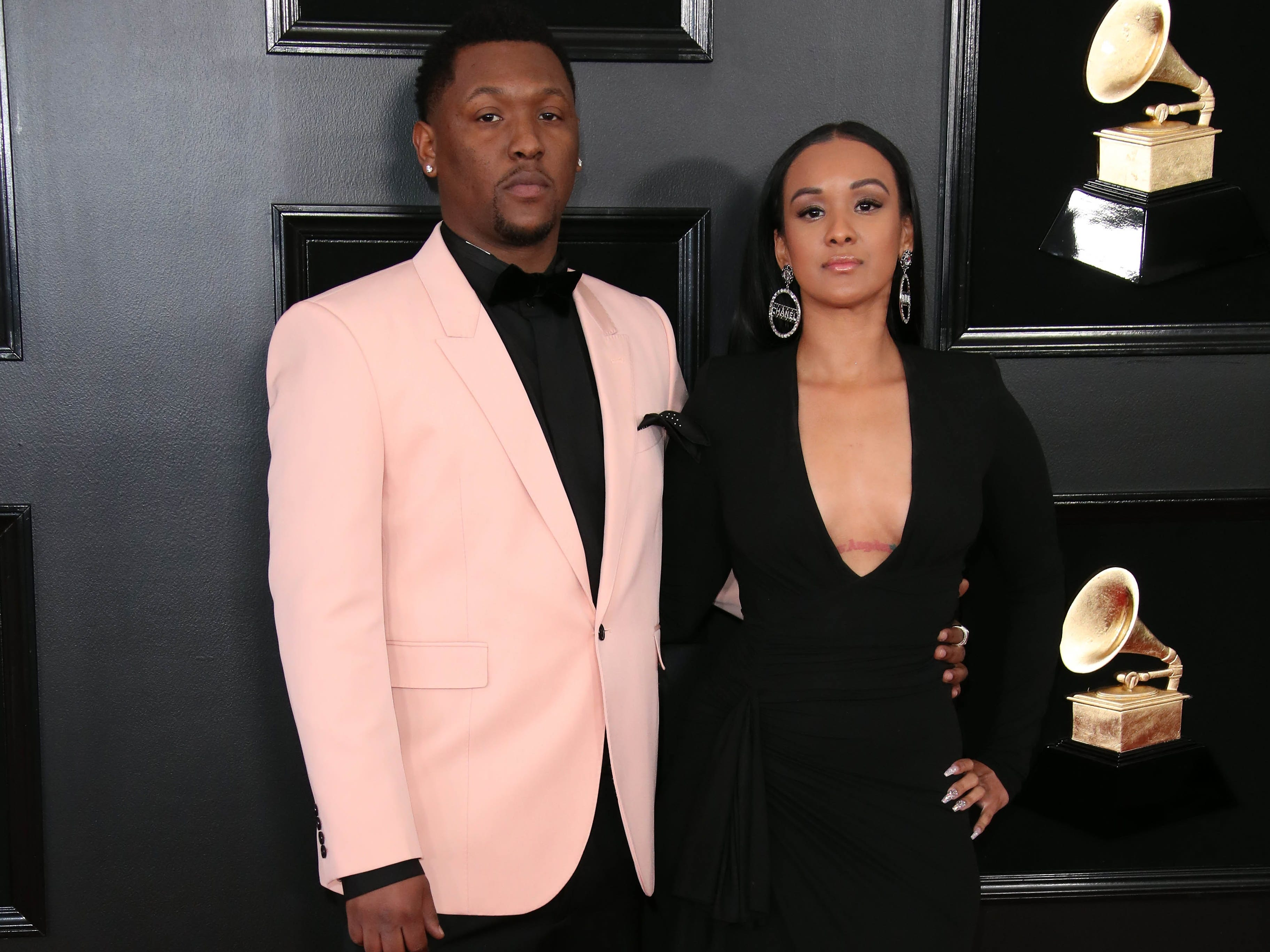 Hit Boy, left, attends the 61st Annual GRAMMY Awards on Feb. 10, 2019 at STAPLES Center in Los Angeles, Calif.